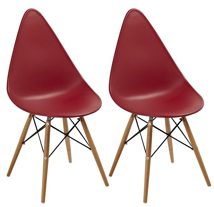 chaise scandinave rouge drop lot de 2