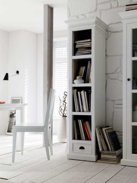 colonne bibliotheque bois blanc acajou 1 tiroir 50x190cm royan