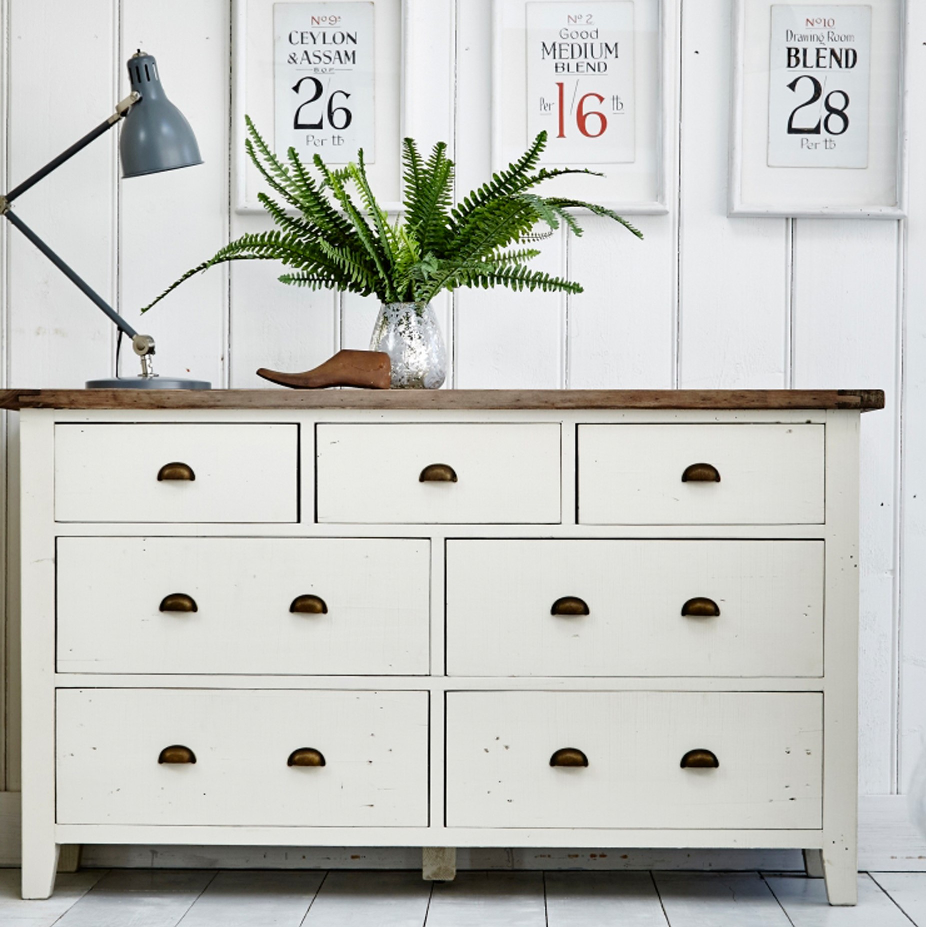 commode blanche bois recycle 7 tiroirs bristol