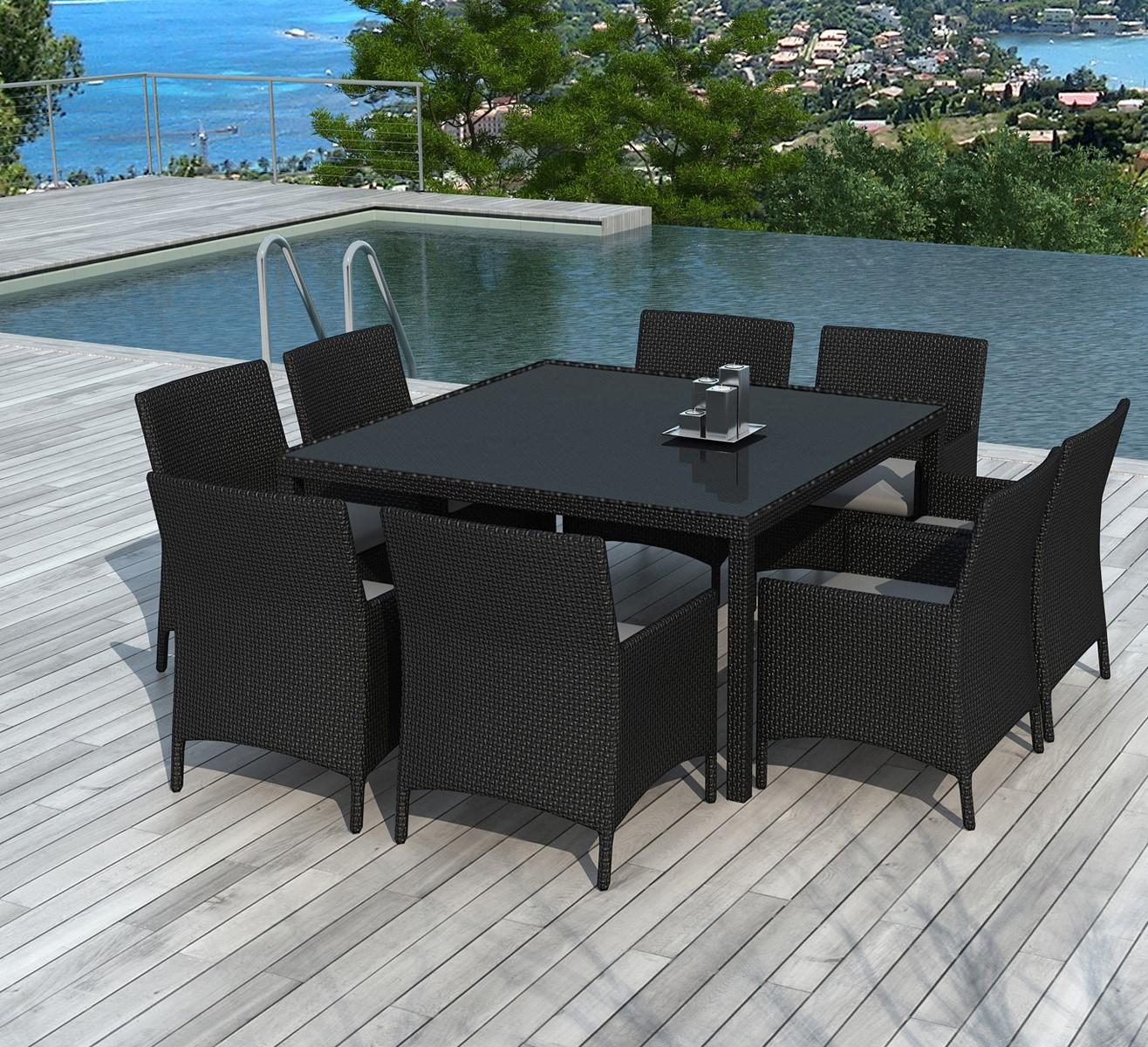 ensemble repas d exterieur table carree 140 cm en resine tressee 8 fauteuils le carre