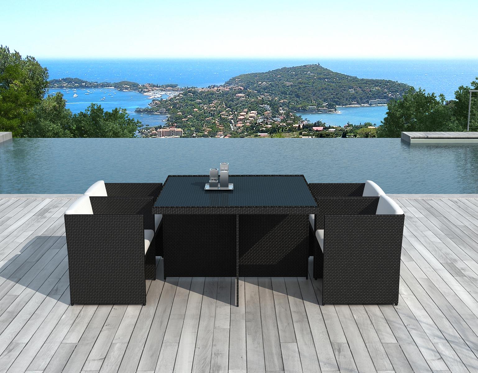 ensemble de repas de jardin table carree 115 cm en resine tressee noire 4 fauteuils avec coussin lima