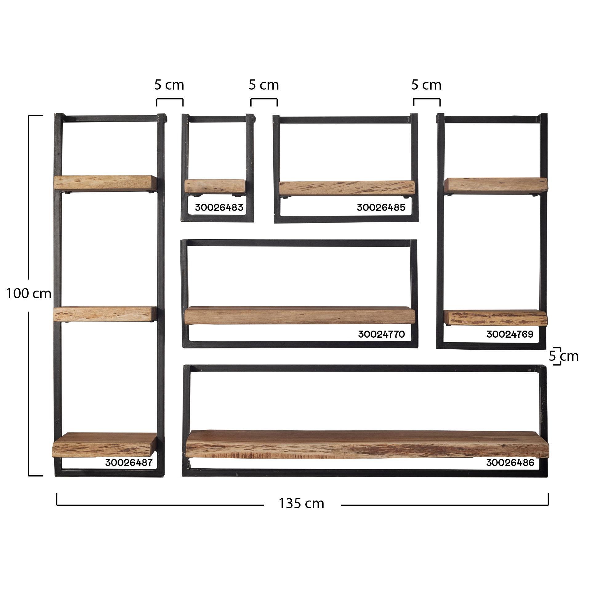 etagere murale bois metal 40 cm melbourne