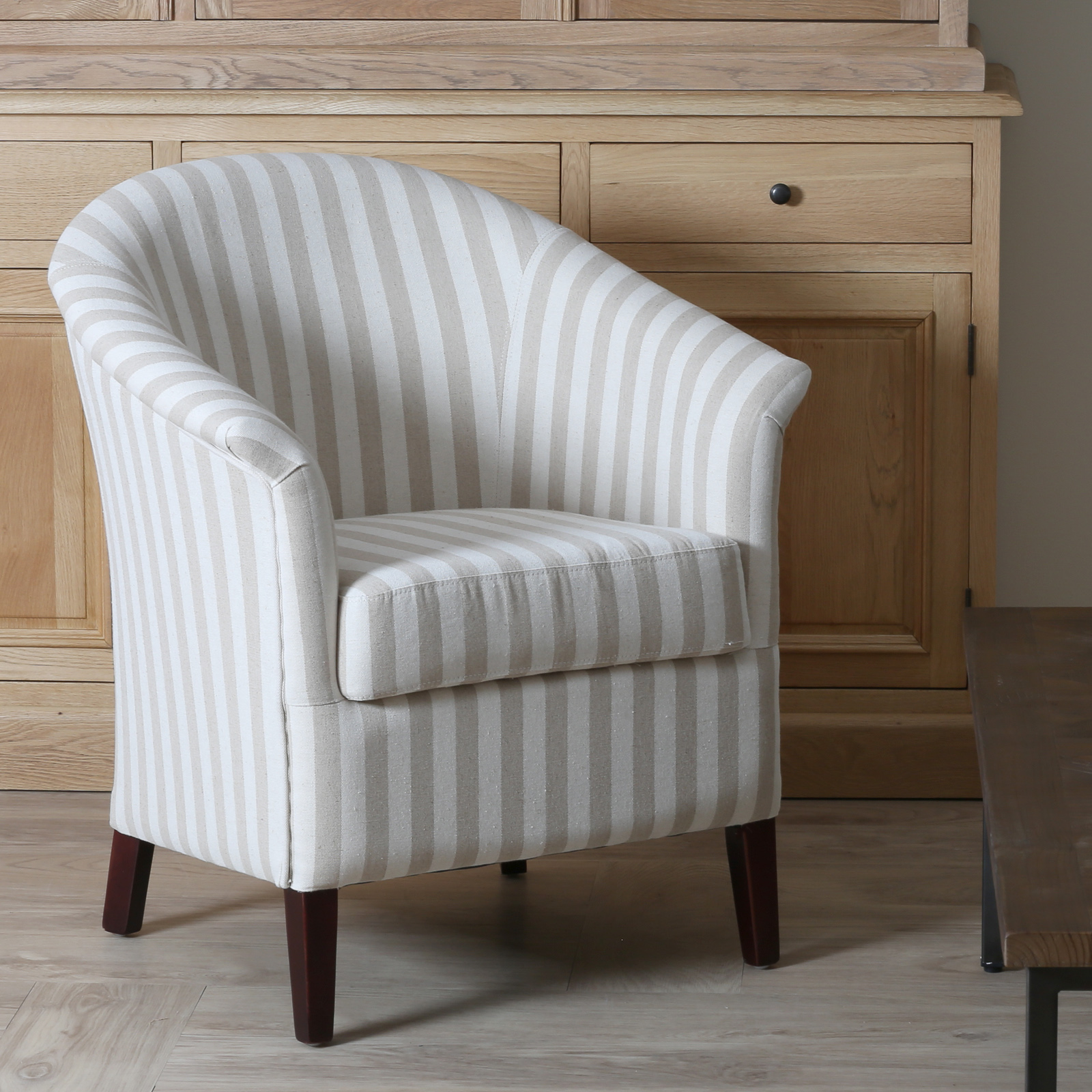 fauteuil cabriolet blanc creme rayures mira