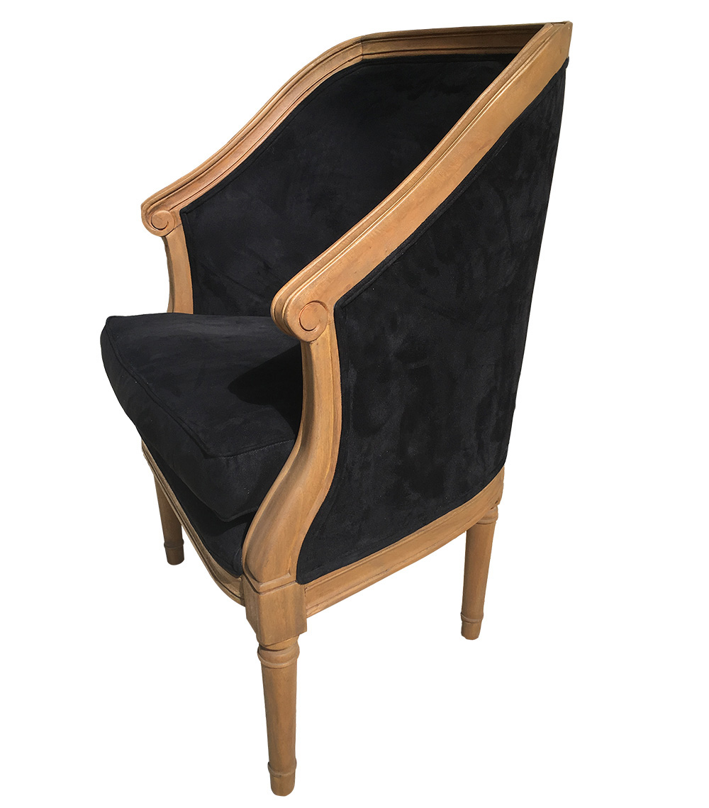 fauteuil cabriolet leon tissu microfibres noir amadeus