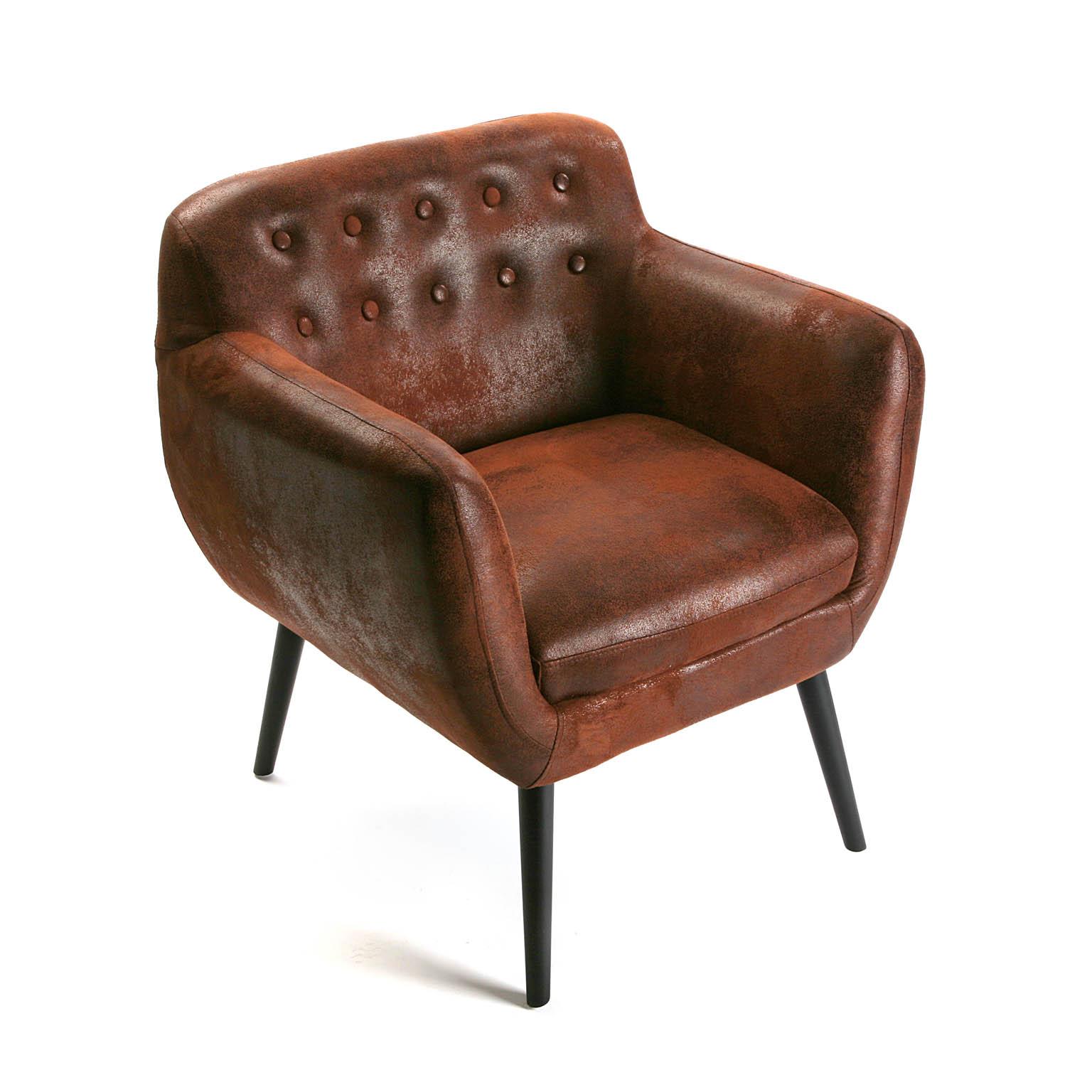 fauteuil club en tissu facon simili marron vieilli capitonne 68x63x76 vancouver