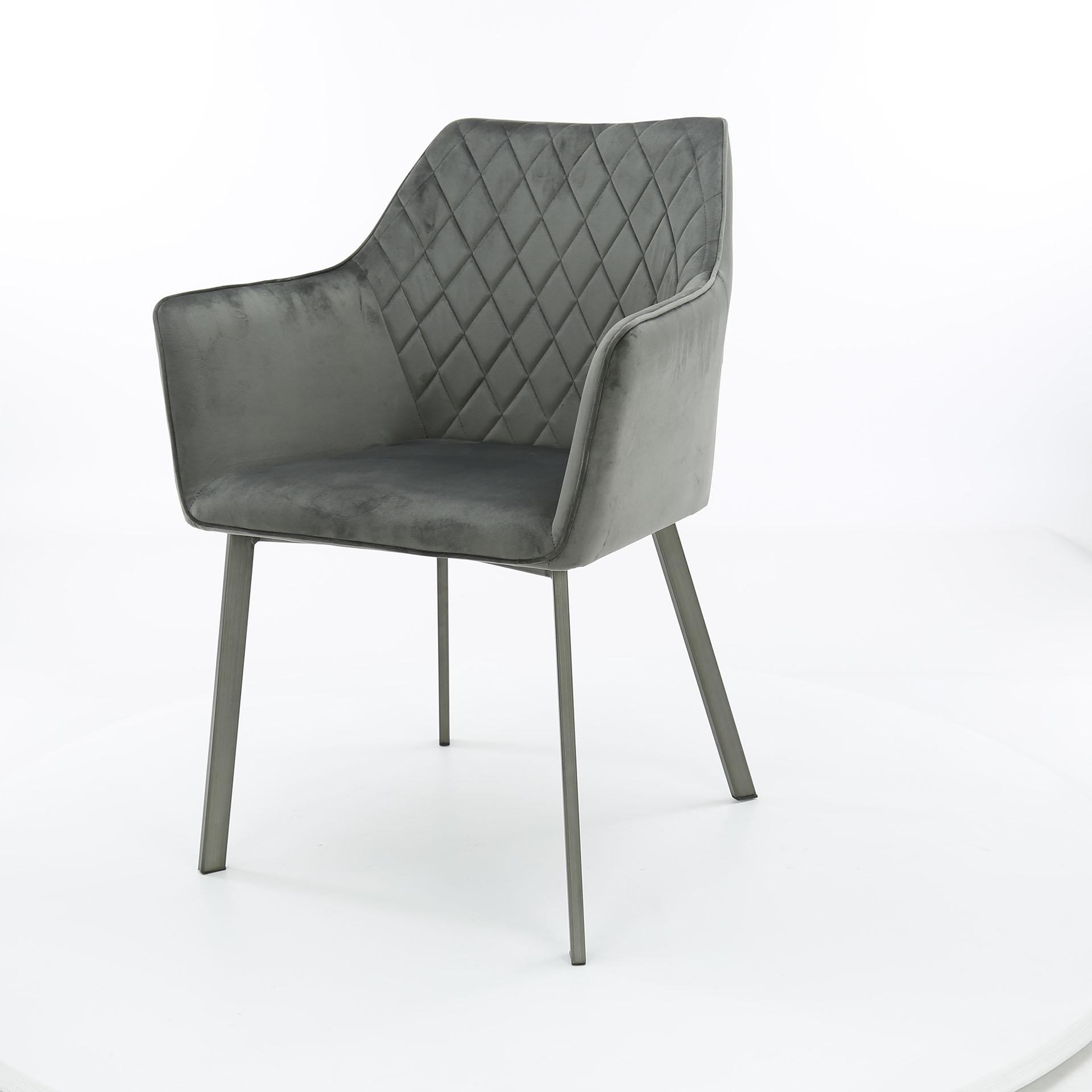 fauteuil de table velours gris anthracite motif losange lot de 2 melbourne