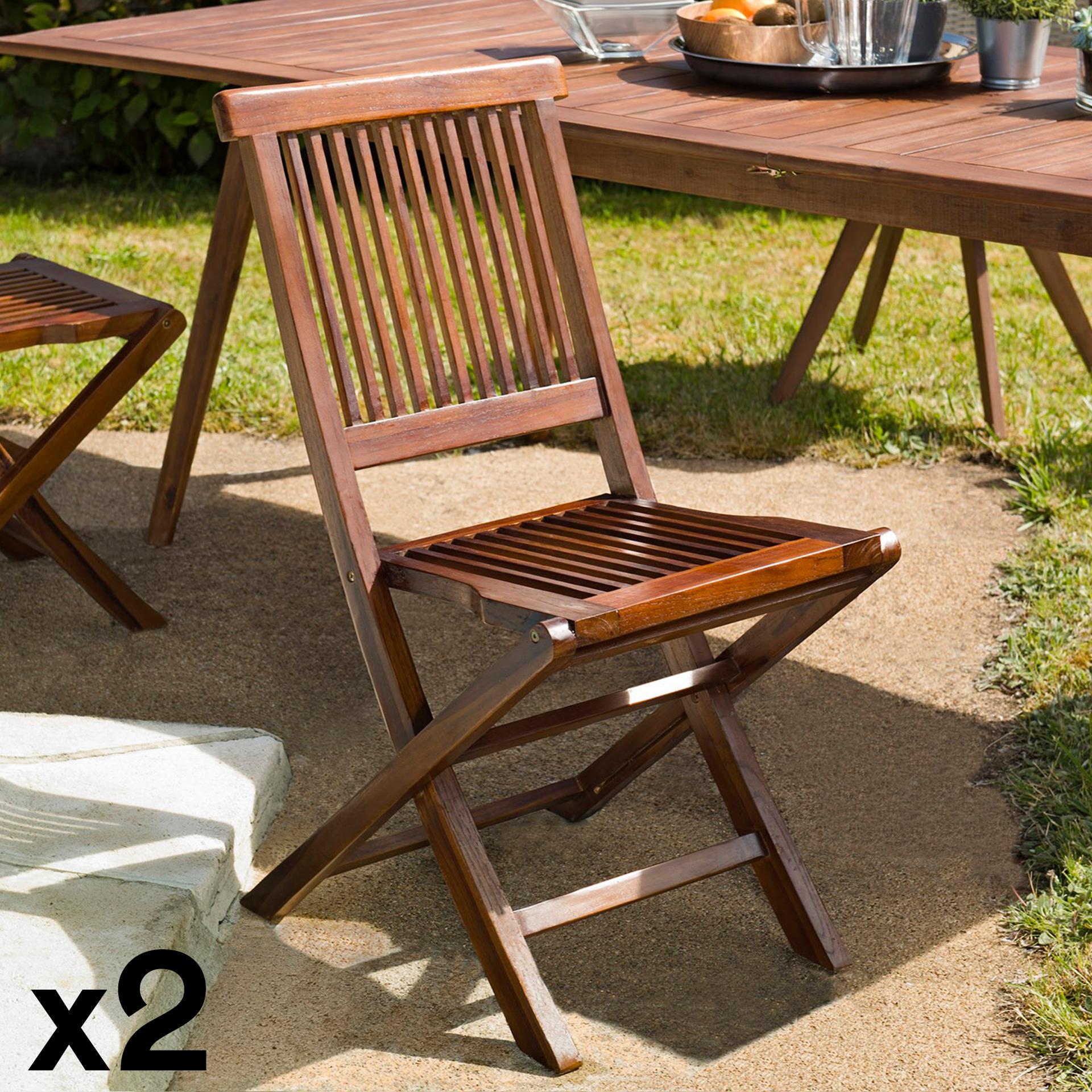 lot de 2 chaises de jardin en teck massif huile 45x60x90cm macao