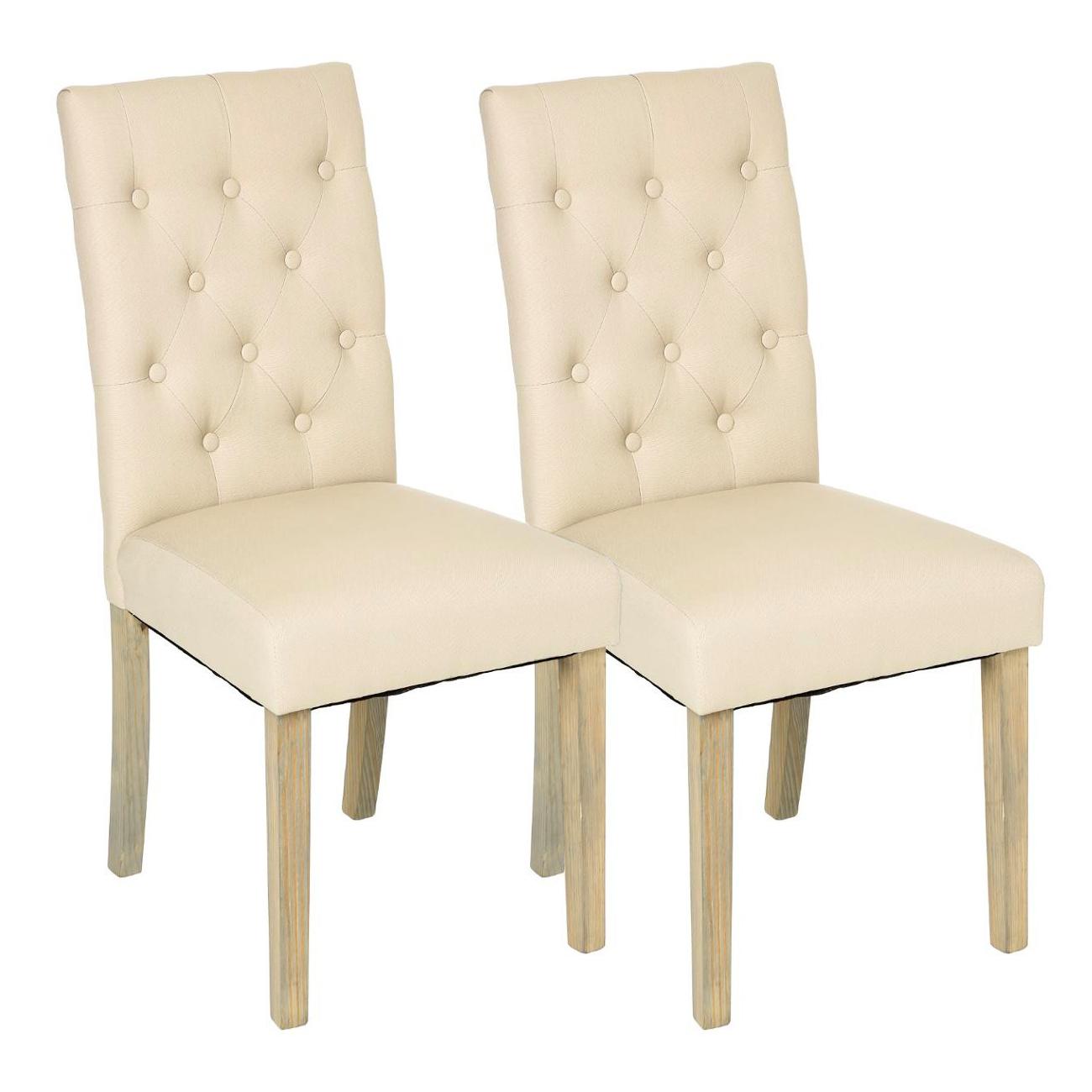 lot de 2 chaises moderne tissu beige dossier capitonne pieds bois