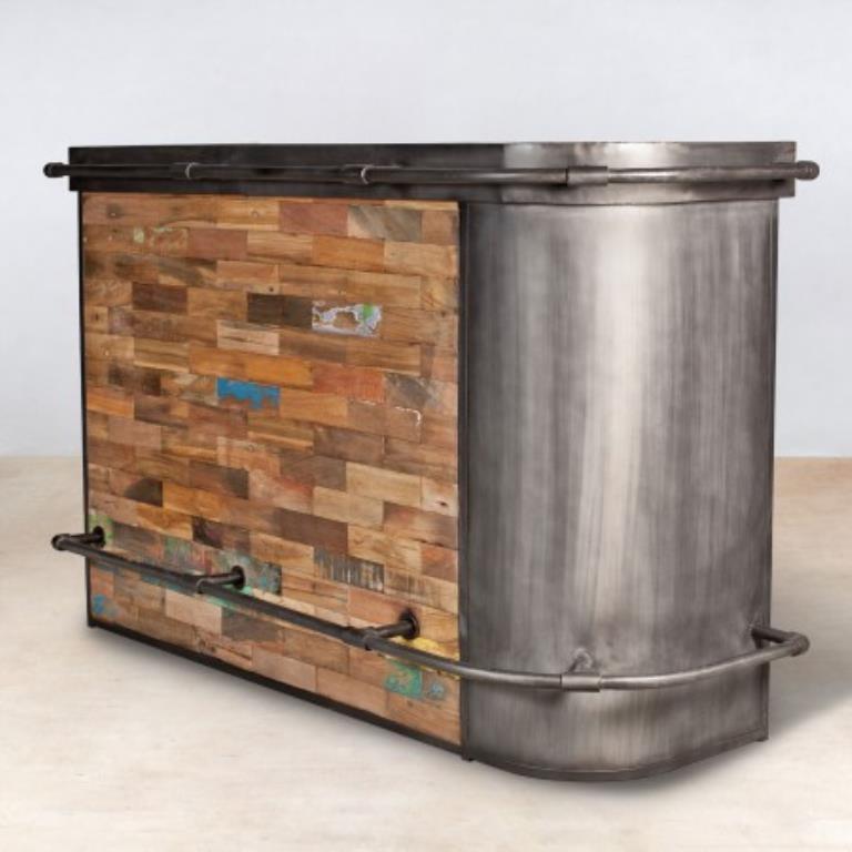 meuble bar bois recycle arrondi a droite 164x60 caravelle