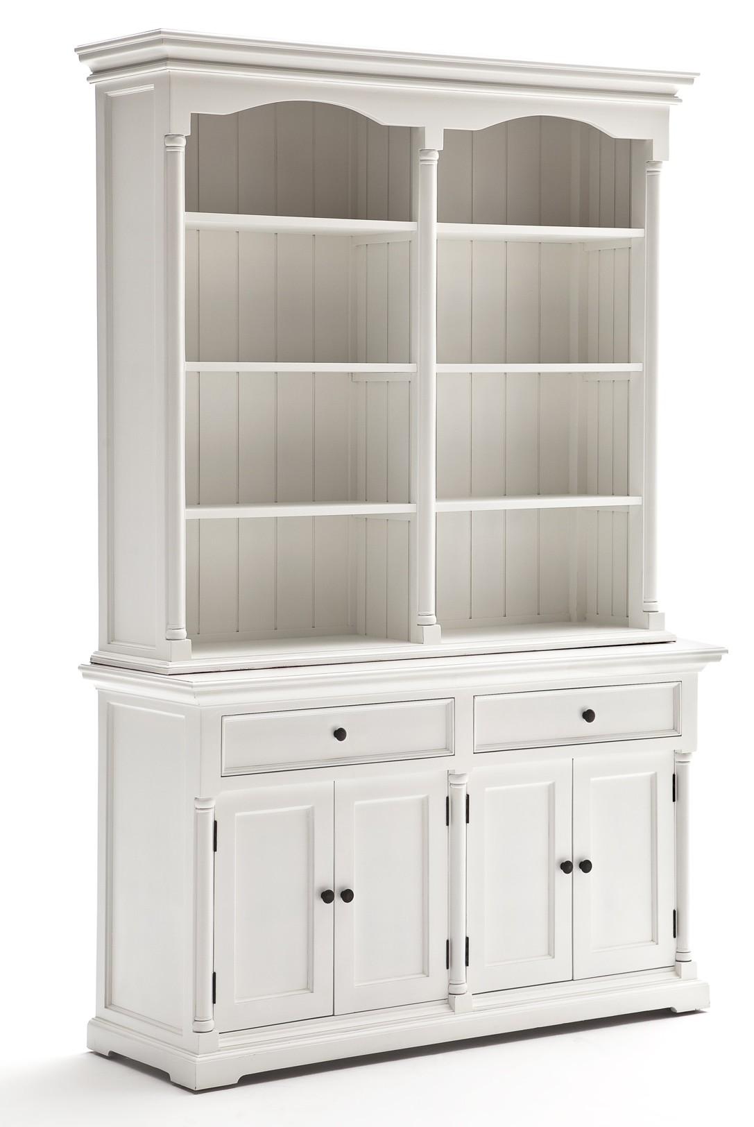meuble bibliotheque en bois blanc 2 tiroirs 4 portes acajou 145x220cm royan