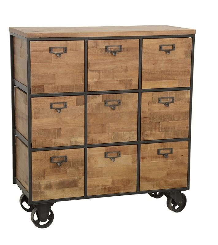 meuble de rangement a roulettes 9 tiroirs en hevea recycle naturel et metal 76x35x83cm loft