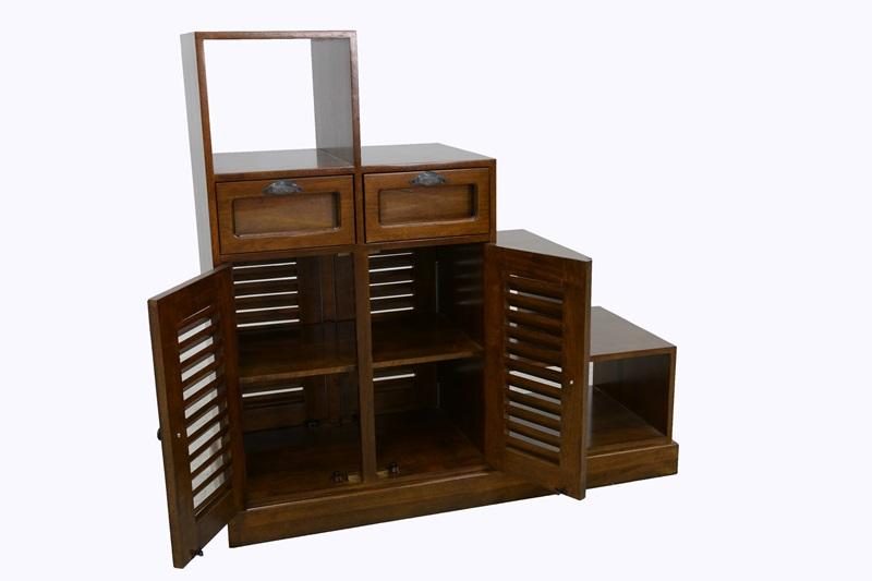 meuble escalier double face hevea 2 portes persiennes 2 tiroirs 3 niches 105x40x102cm maori
