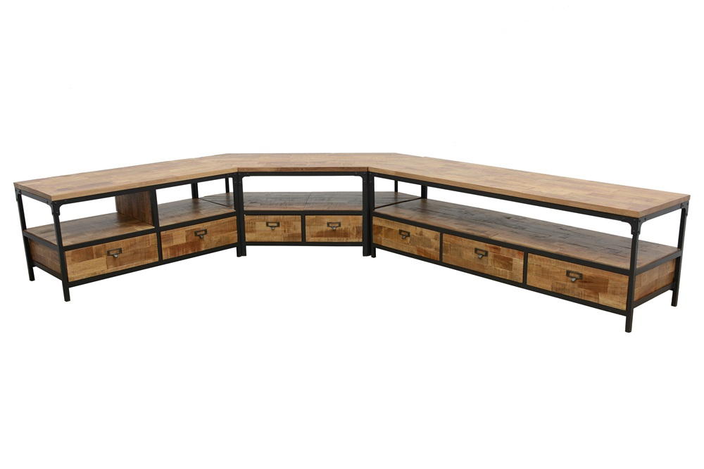 meuble tv 2 tiroirs 2 niches ouvertes en hevea recycle naturel et metal 100x45x50cm loft