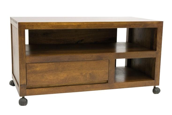 meuble tv a roulettes 1 tiroir hevea 90cm olga