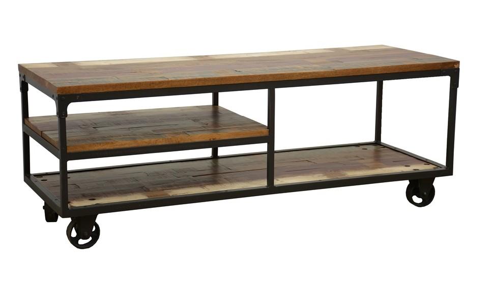 meuble tv a roulettes double plateaux et etagere intermediaire en hevea recycle colore et metal 140x50x52cm loft colors