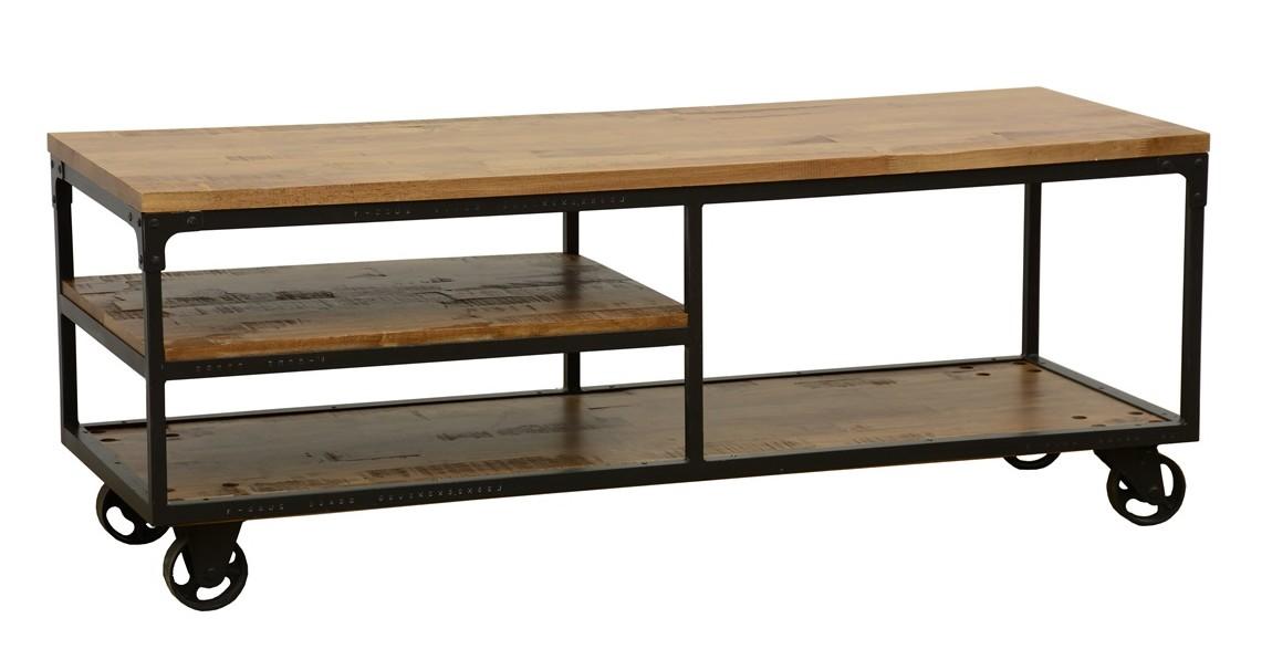 meuble tv a roulettes double plateaux et etagere intermediaire en hevea recycle naturel et metal 140x50x52cm loft