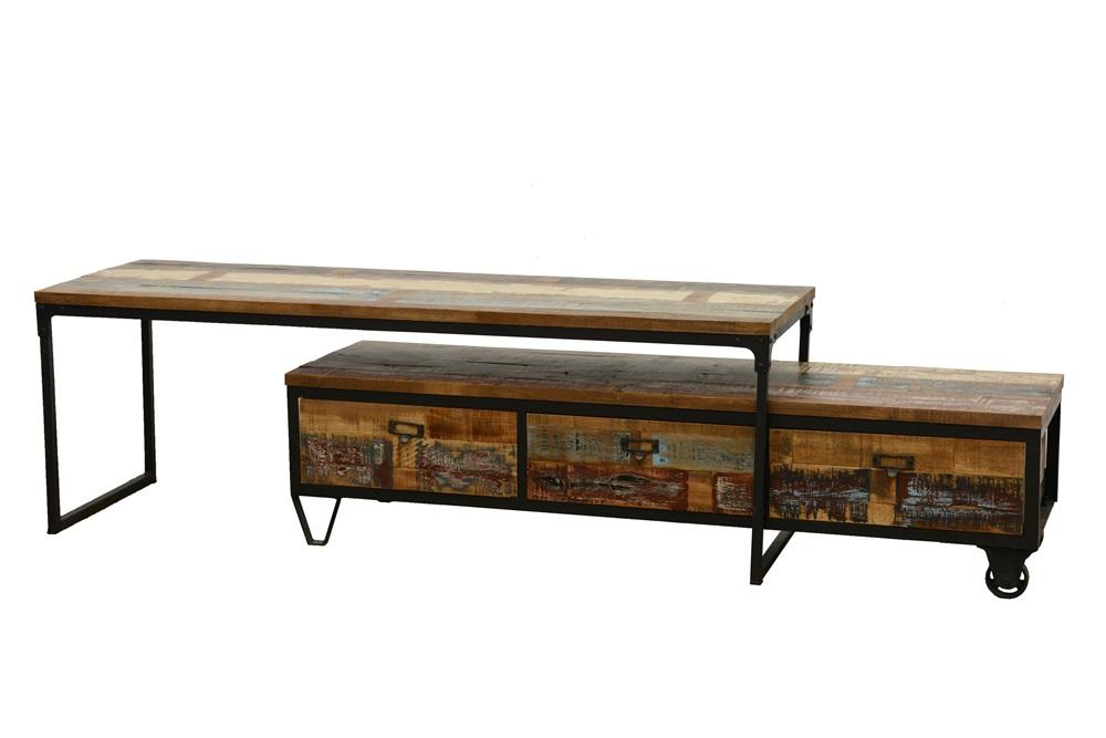 meuble tv a roulettes en 2 parties 3 tiroirs 1 grand plateau en hevea recycle colore et metal 150x45x50cm loft colors