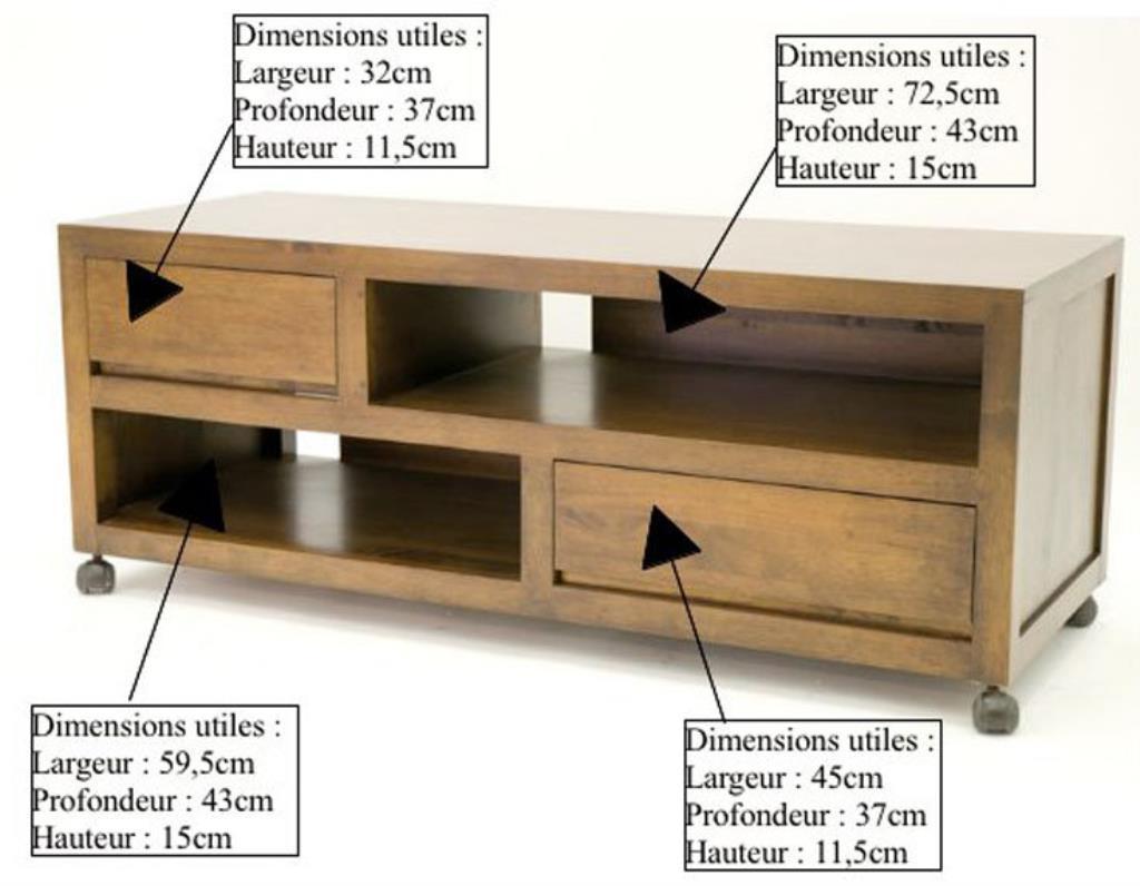 meuble tv a roulettes hevea 120cm olga