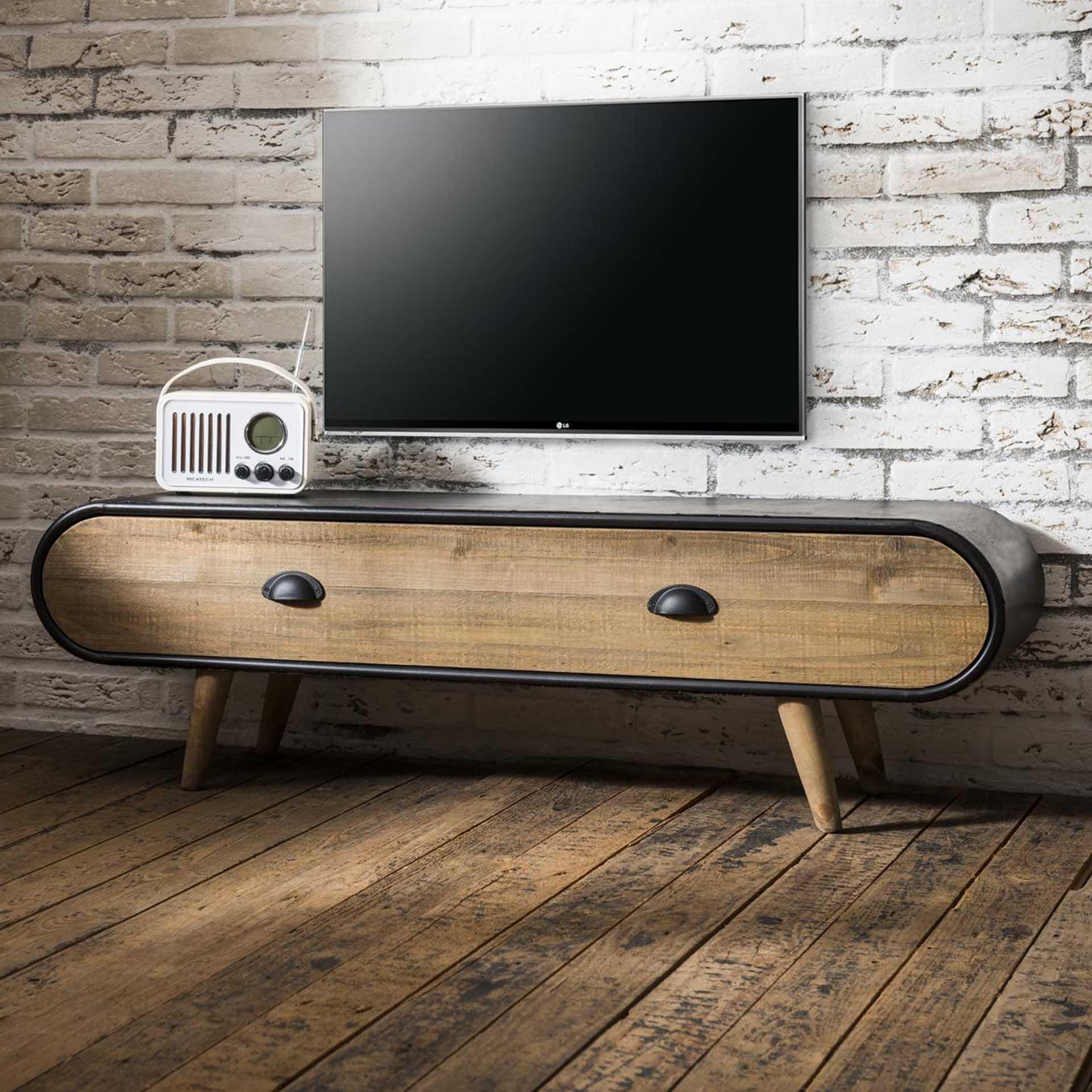 meuble tv avec rangement bois massif