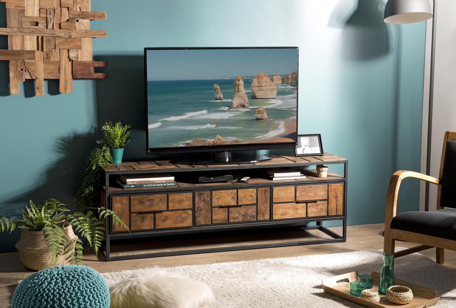 meuble tv avec rangement teck recycle damier swing