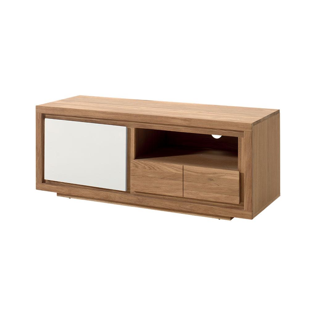 meuble tv bois bicolore naturel laque blanc en chene massif 1 porte 1 tiroir 1 niche 128x40x50cm malmoe