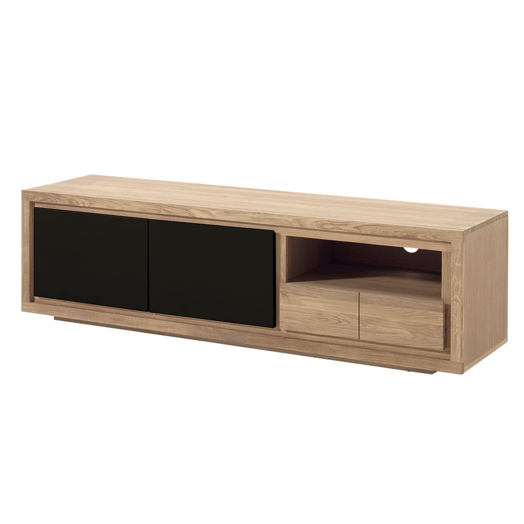 meuble tv bois bicolore naturel laque noir en chene massif 2 portes 1 tiroir 1 niche 180x48x50cm malmoe2