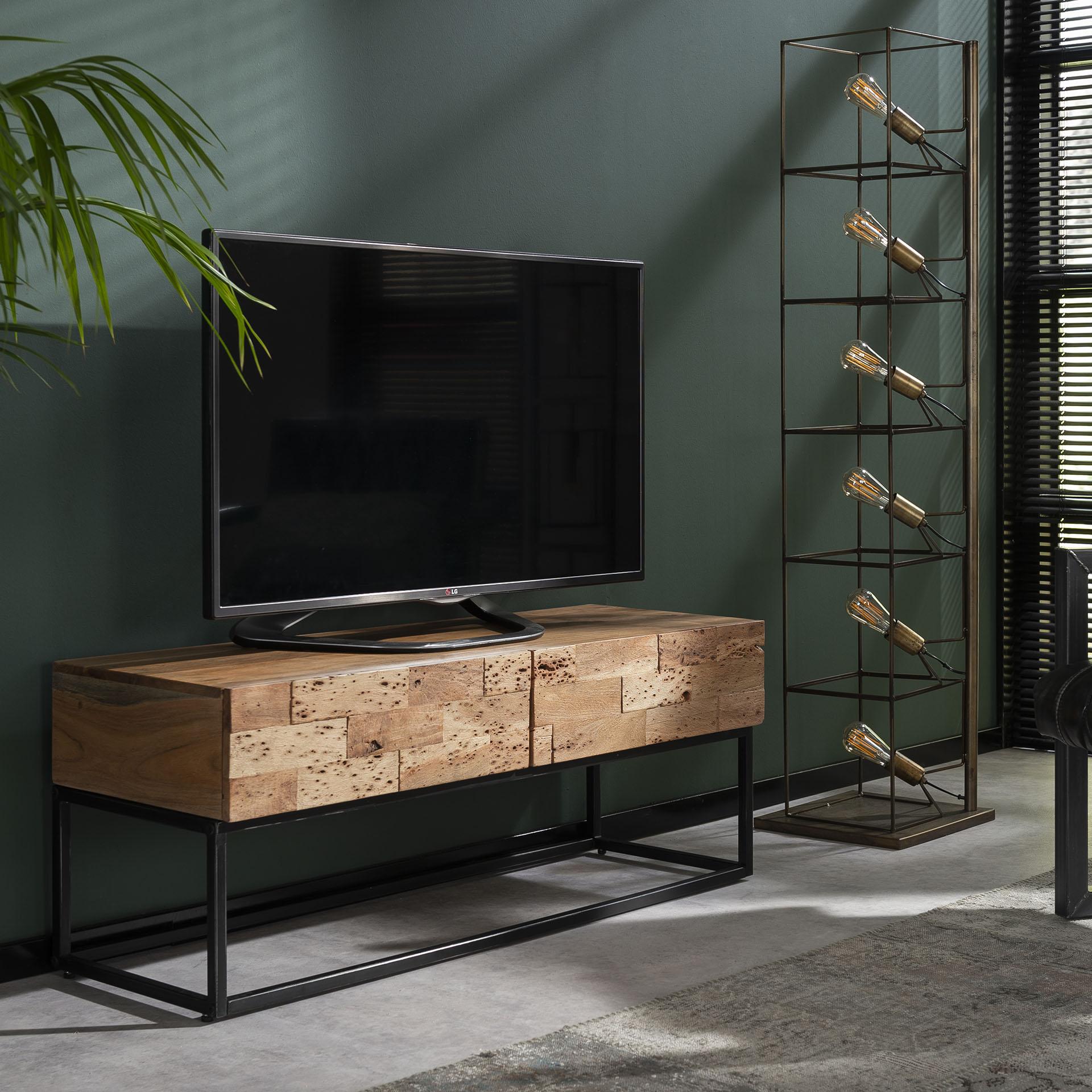 meuble tv bois d acacia sable 2 tiroirs perth