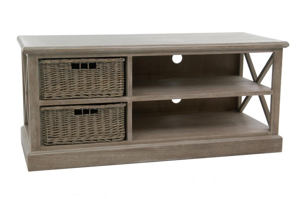 meuble tv bois naturel patine grise blanchi avec 2 paniers amovibles l120xp49 5xh51cm paolia