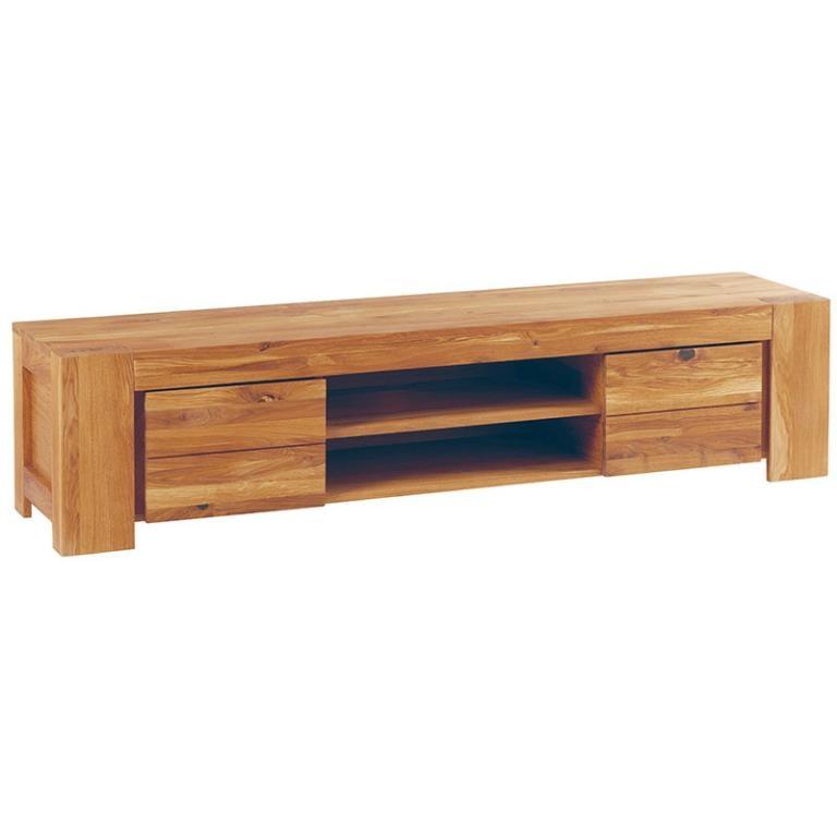 meuble tv chene huile 2 portes 175x40x41 5cm romeo