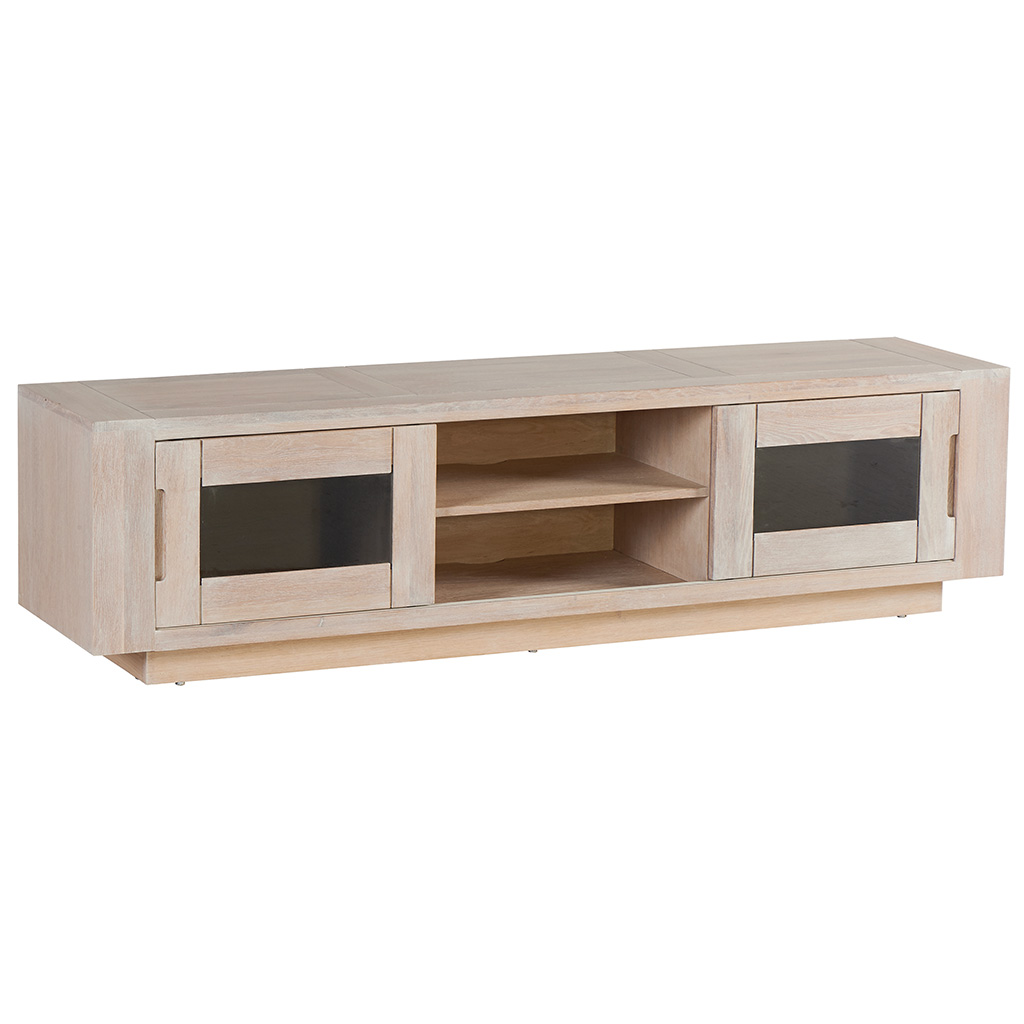 meuble tv chene massif cire blanchi 2 portes coulissantes vitrees fumees 2 niches 180x42x47cm manille