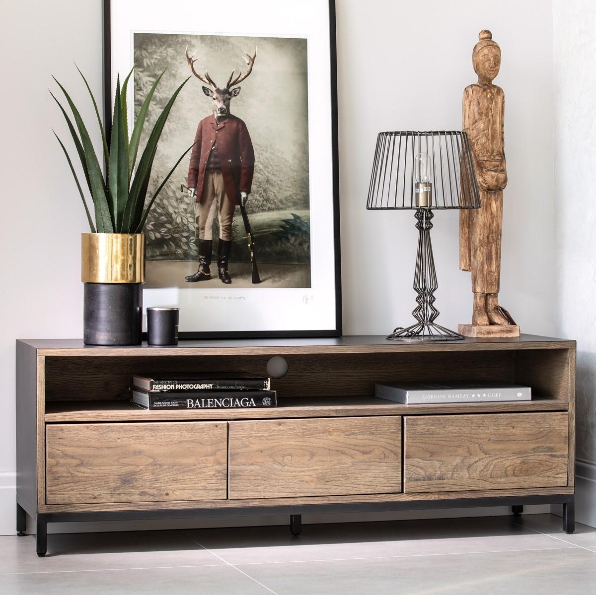 meuble tv contemporain chene massif encadrement metal noir hudson