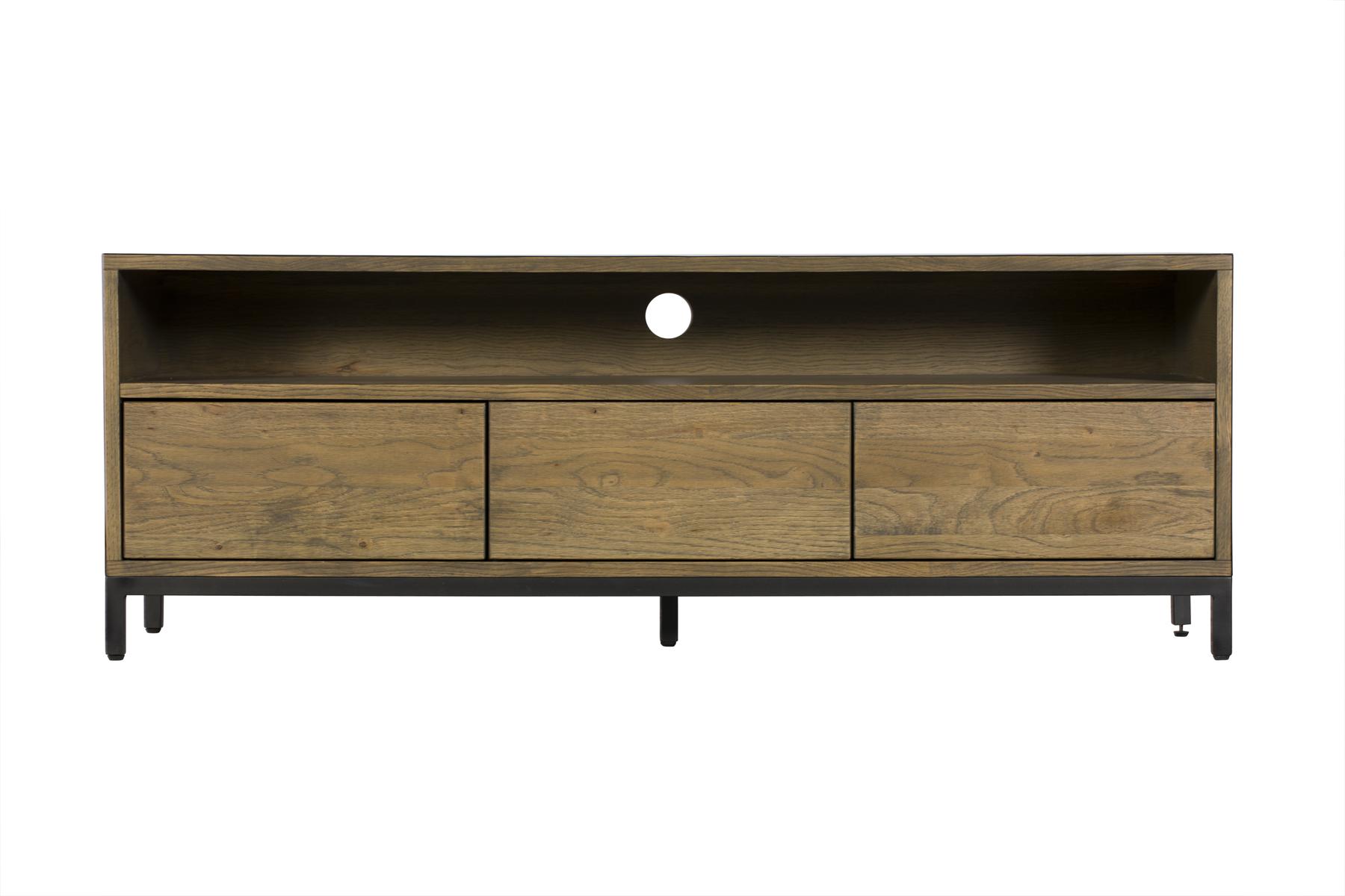meuble tv contemporain chene massif encadrement metal noir hudson meubles tv pier import