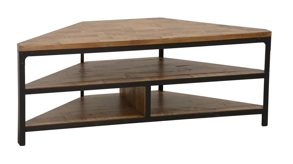 meuble tv d angle 3 etages ouverts en hevea recycle naturel et metal 120x46x46cm loft