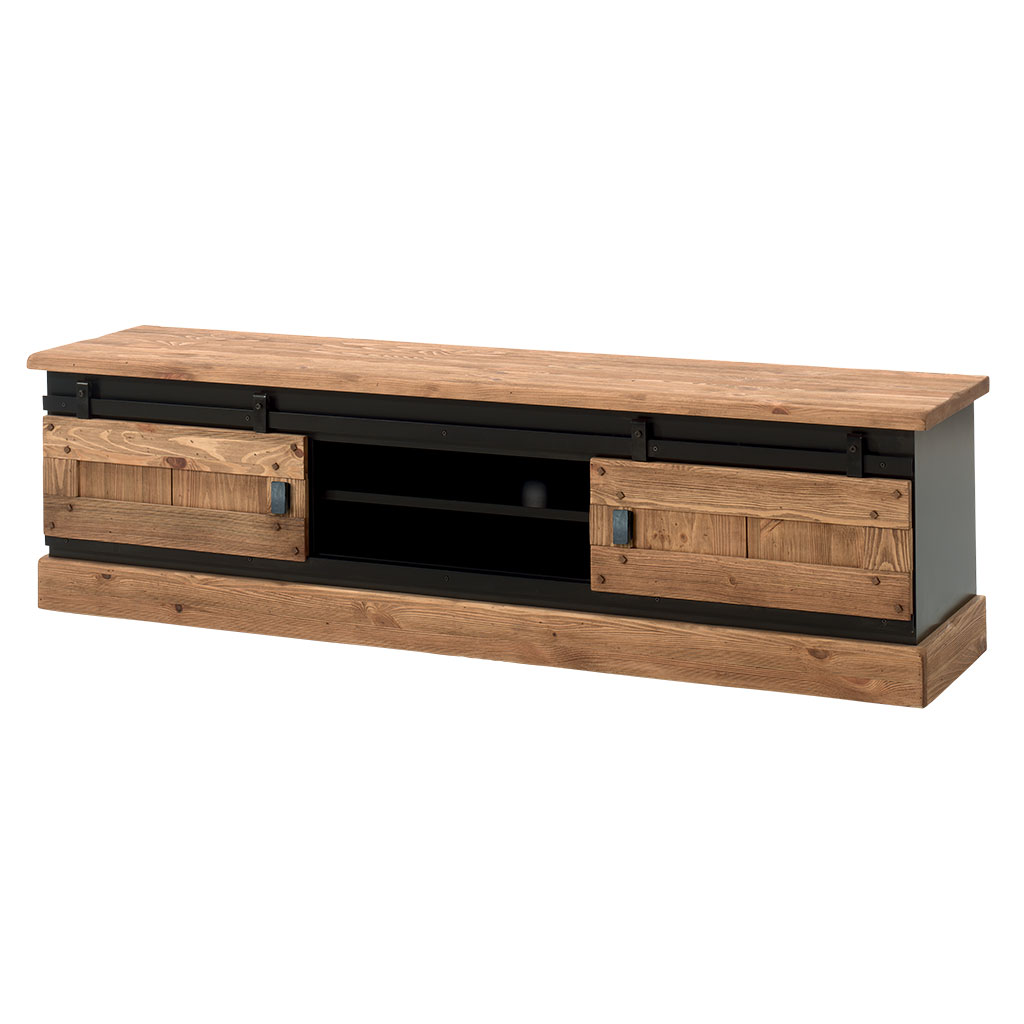 meuble tv en pin massif brosse et laque noir 2 portes coulissantes 2 niches 180x43x50cm sherbrooke
