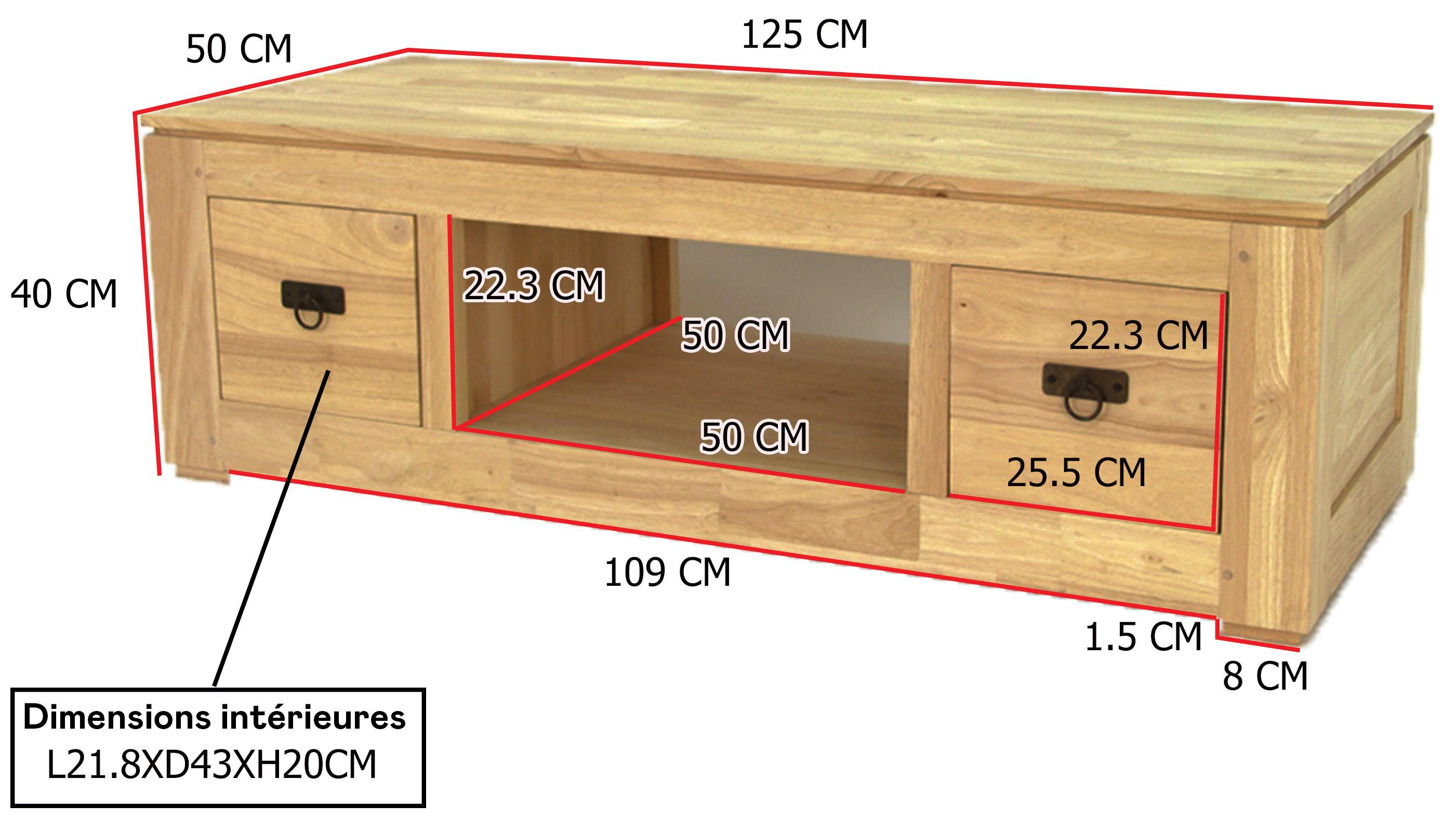 meuble tv hevea 2 tiroirs 125x50x40cm helena