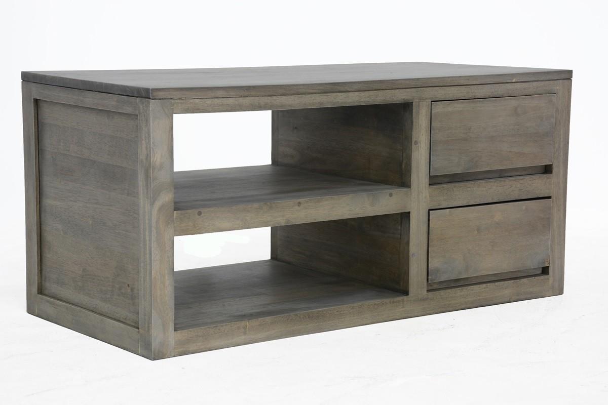 meuble tv hevea 2 tiroirs 90cm olga