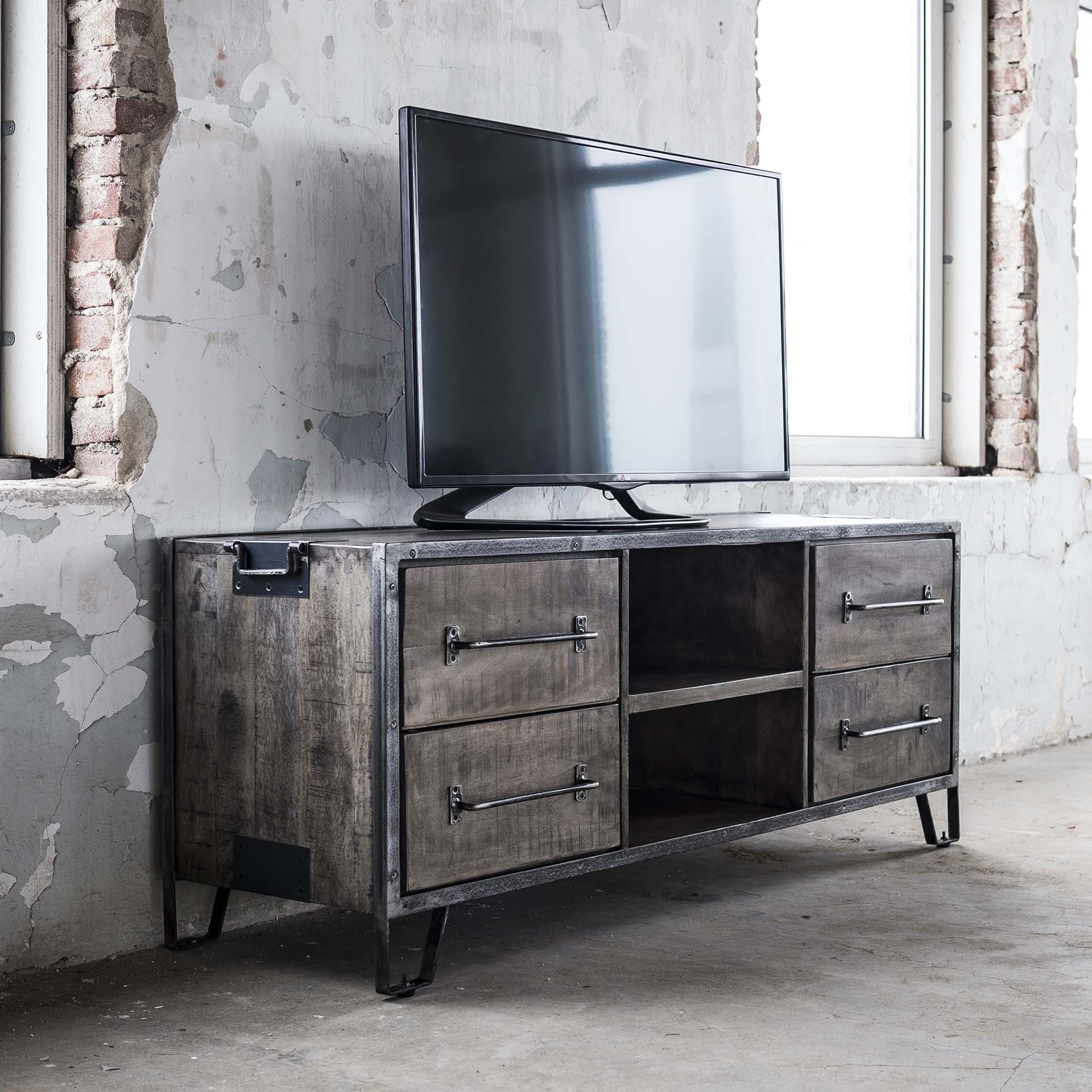 meuble tv industriel bois gris 4 tiroirs poignees roadies