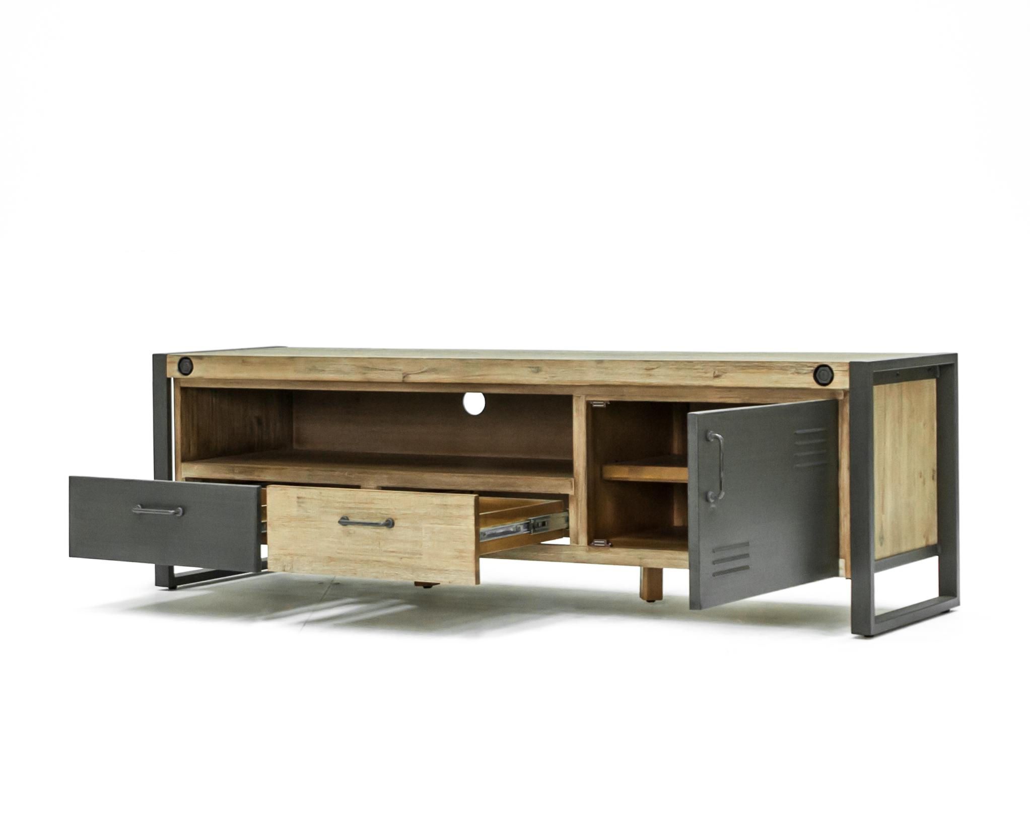 meuble tv industriel bois metal boulons brooklyn