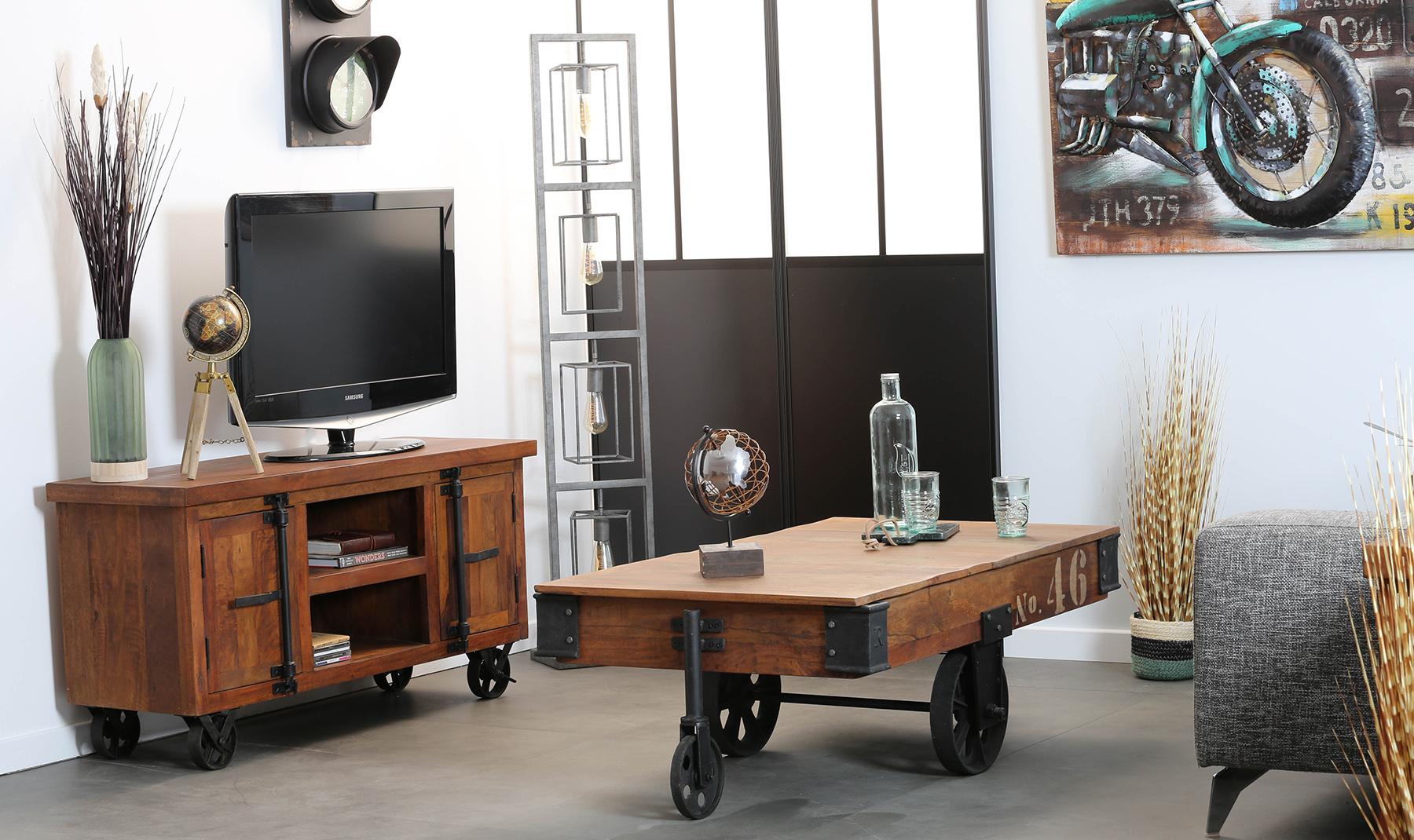 meuble tv industriel vintage bois recycle roues leeds