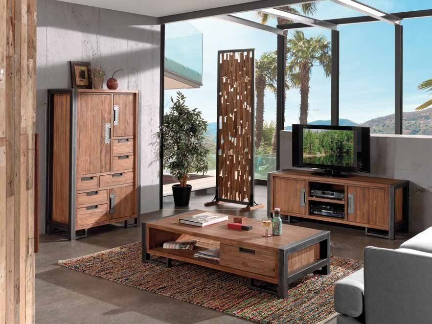 meuble tv marron teck naturel canada