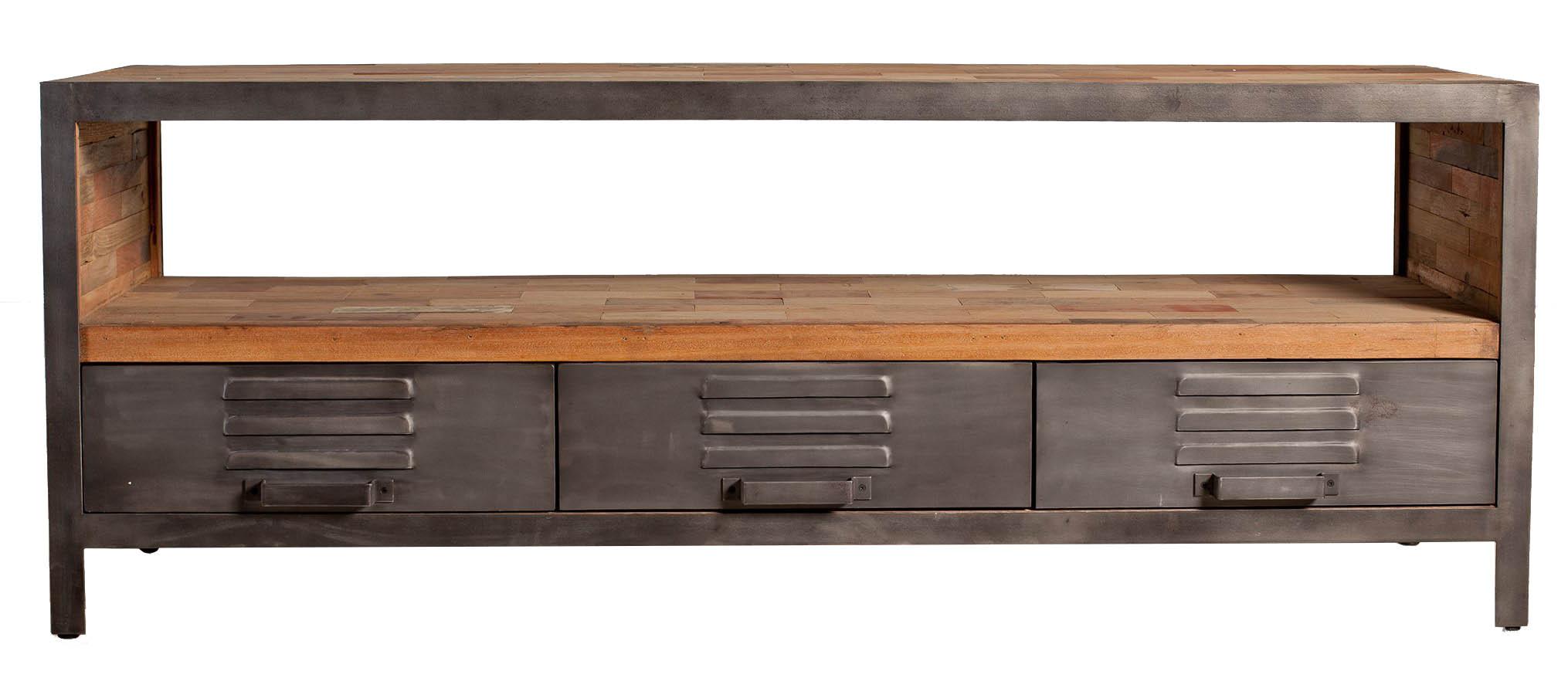 meuble tv metal bois recycle 3 tiroirs caravelle