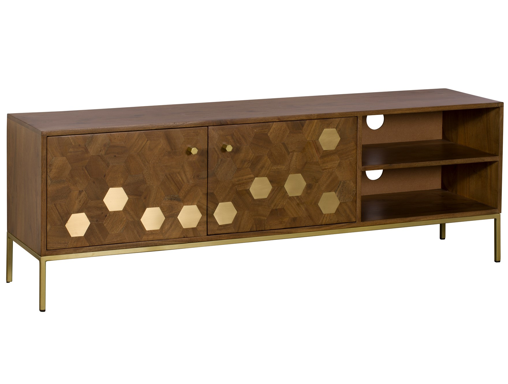 meuble tv moderne acacia laiton hobart meubles tv pier import