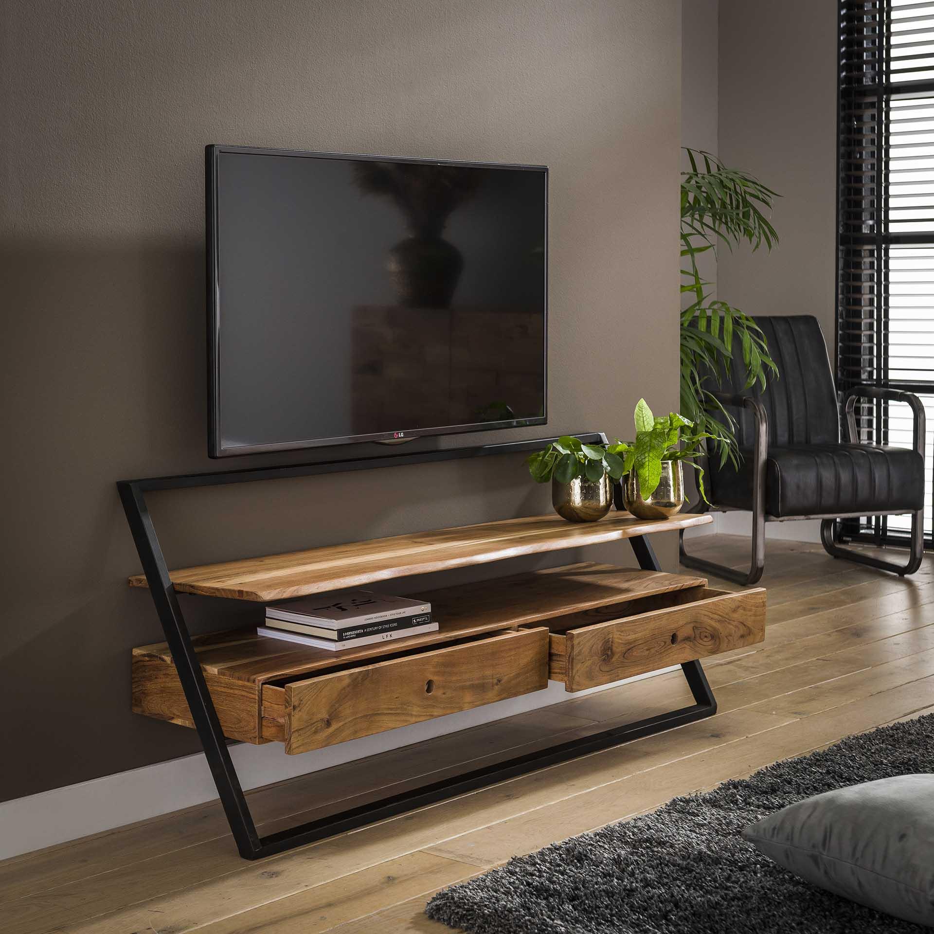 meuble tv mural en bois et metal melbourne