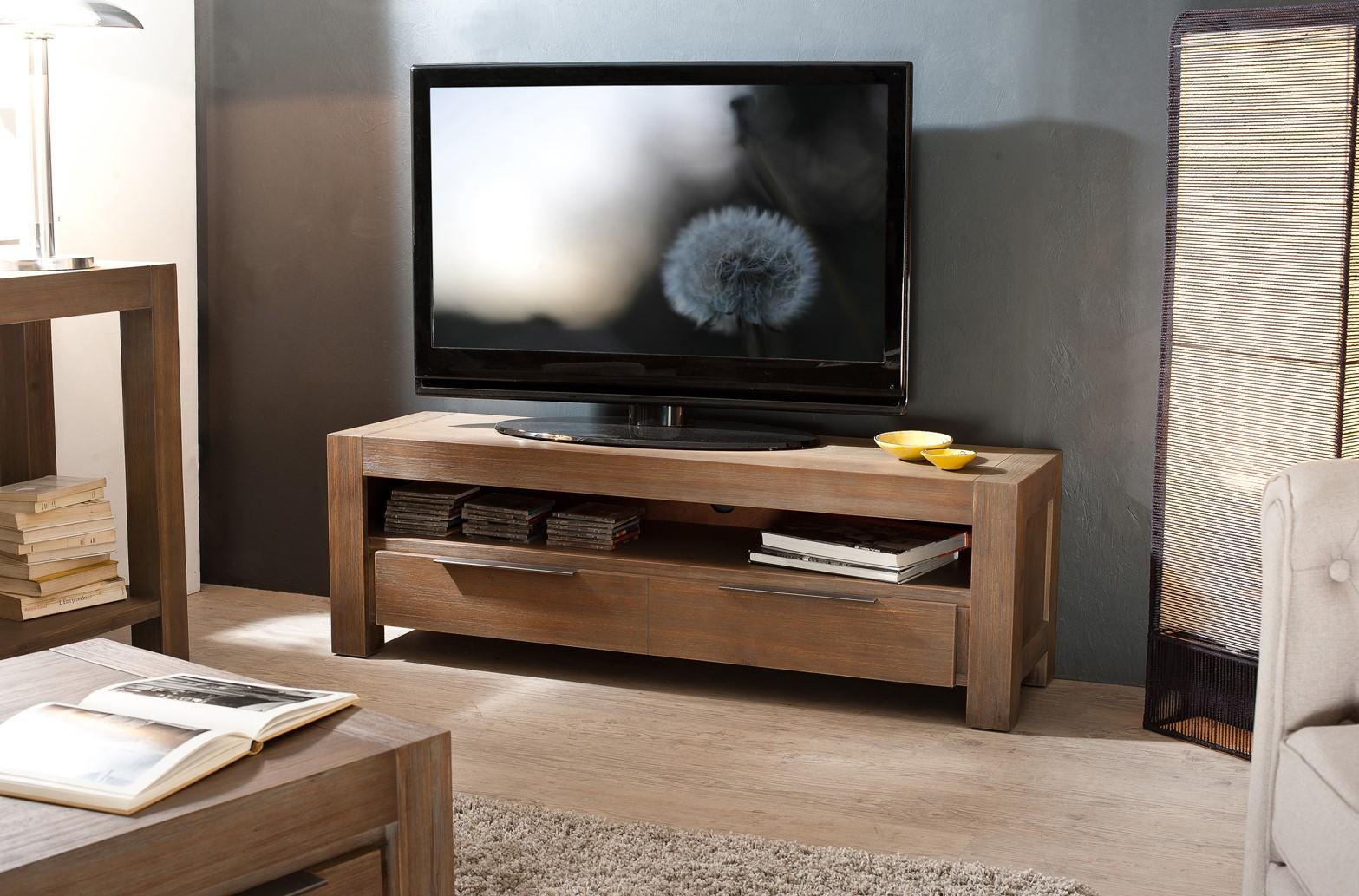 meuble tv nany acacia 140 cm 1 tiroir meubles tv pier import