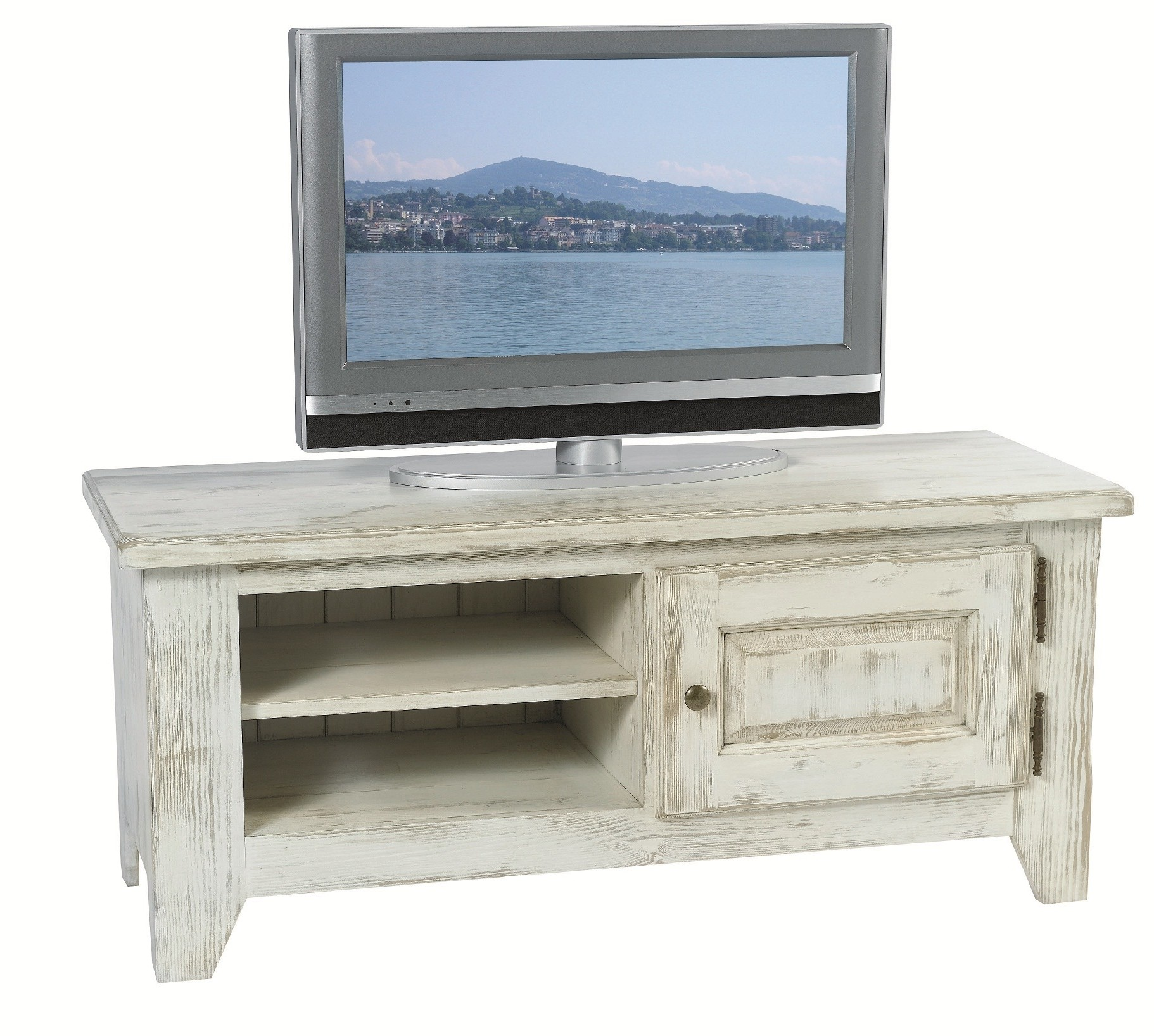 meuble tv pin ceruse blanchi 1 porte 2 niches 116x43x50cm rivage