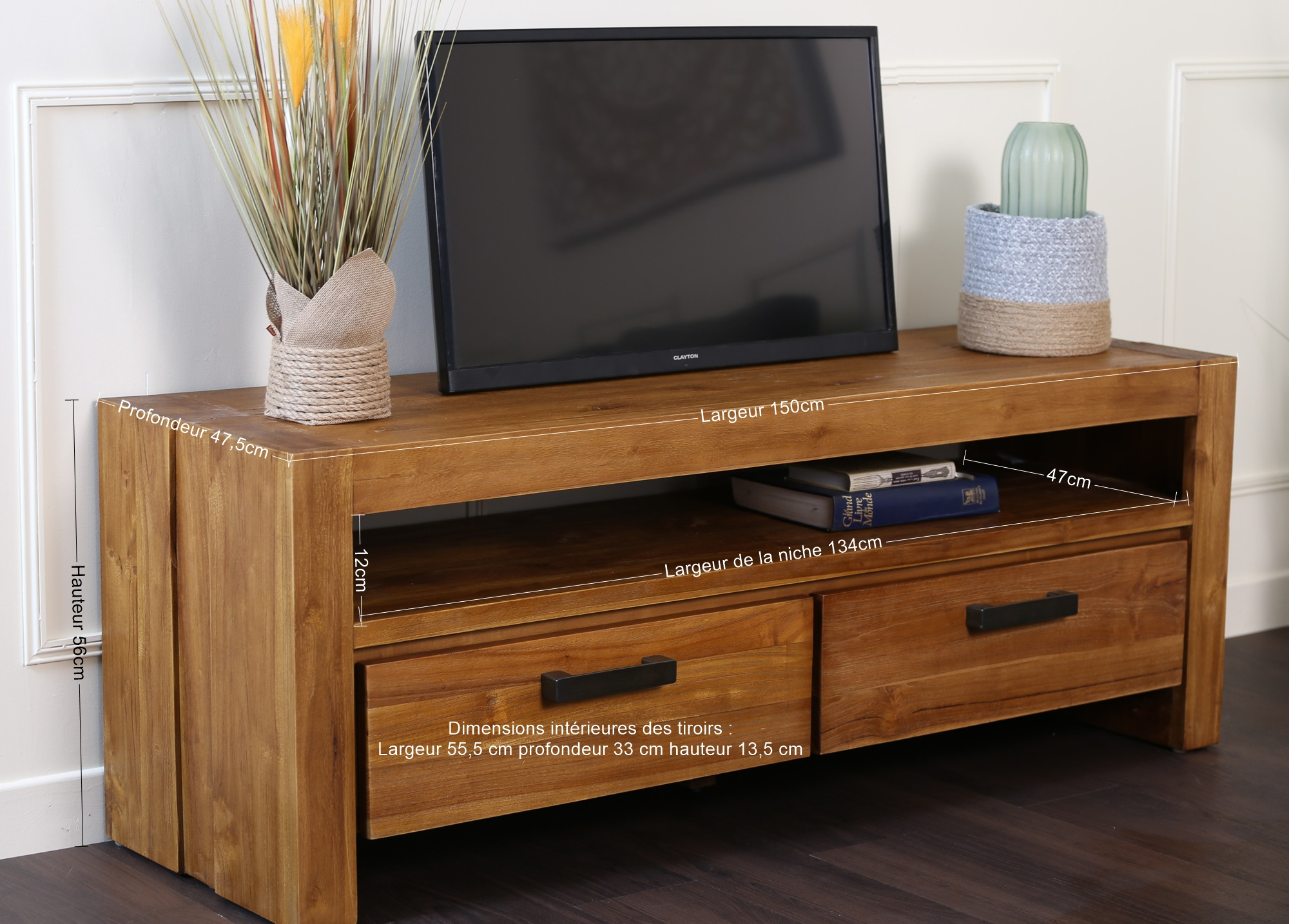 petit meuble tv teck massif brosse rio