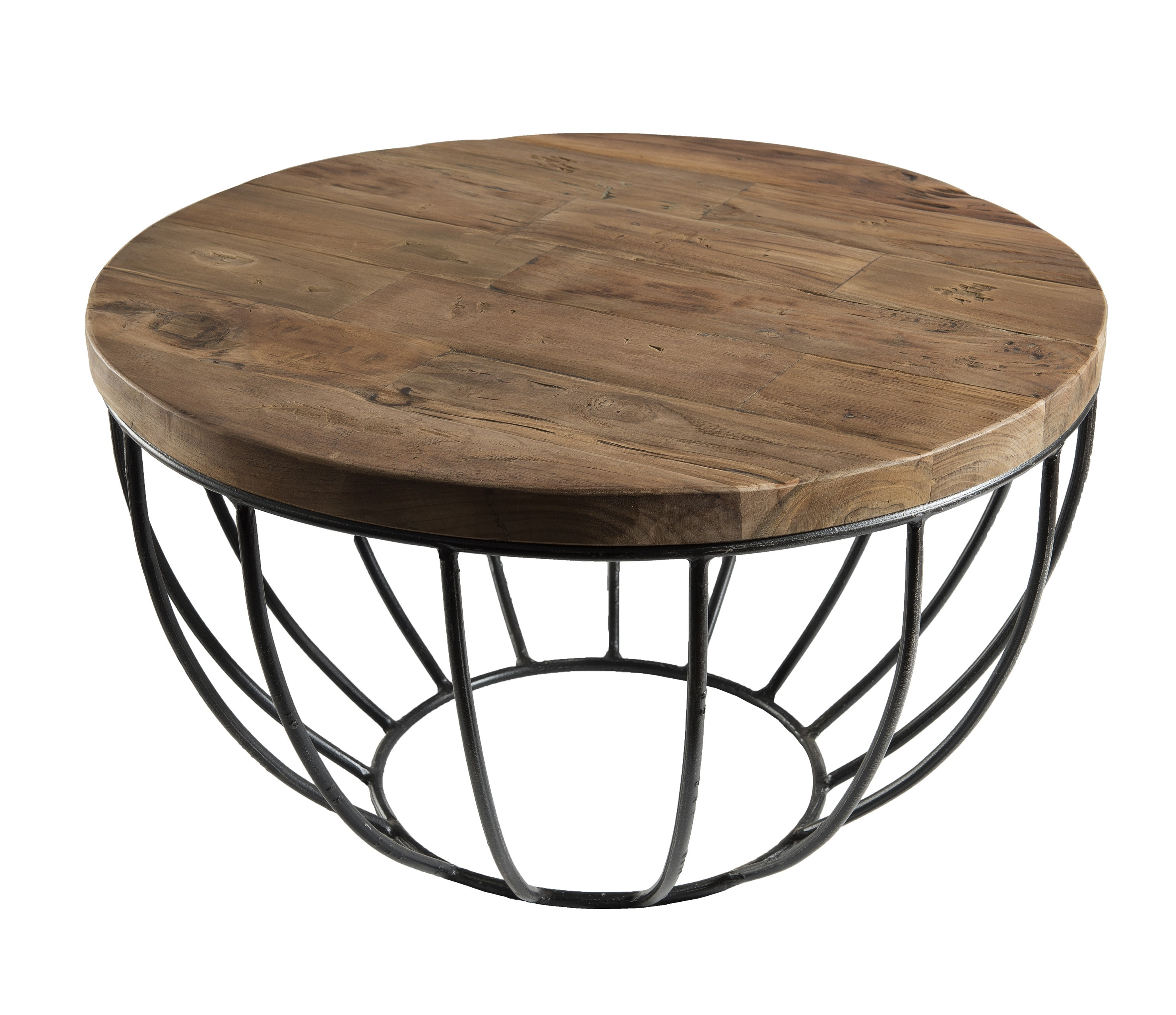 petite table basse ronde teck recycle structure filaire noire swing