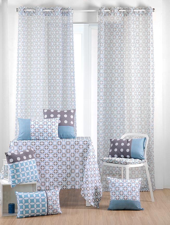rideau voilage bleu gris motifs geometriques 135x260cm a oeillets suomi