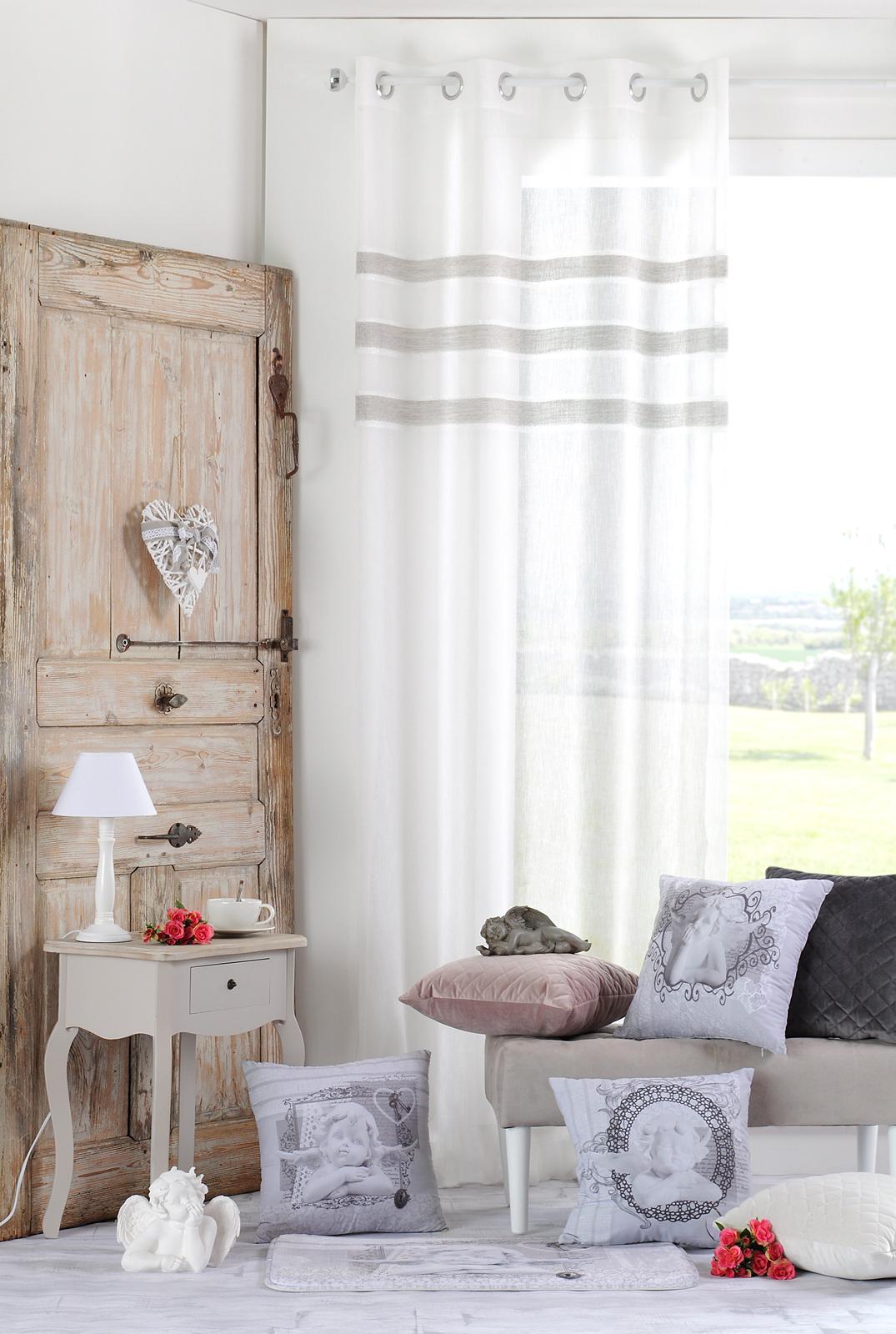 rideau voilage gris clair avec blandeaux gris fonce et broderie blanche 135x260cm a oeillets danae