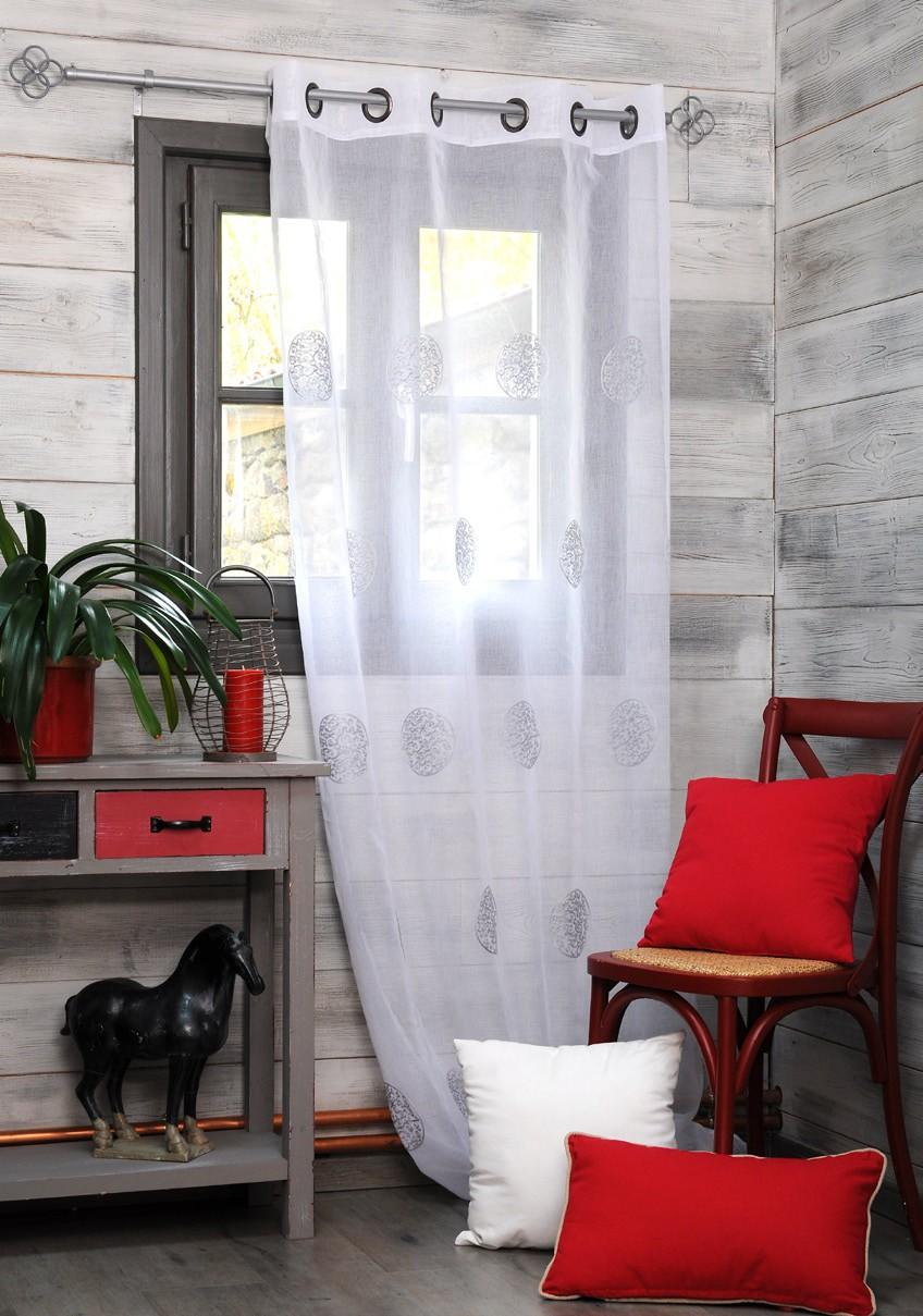 rideau voilage gris decor ronds arabesques brodes 135x260cm a oeillets khan